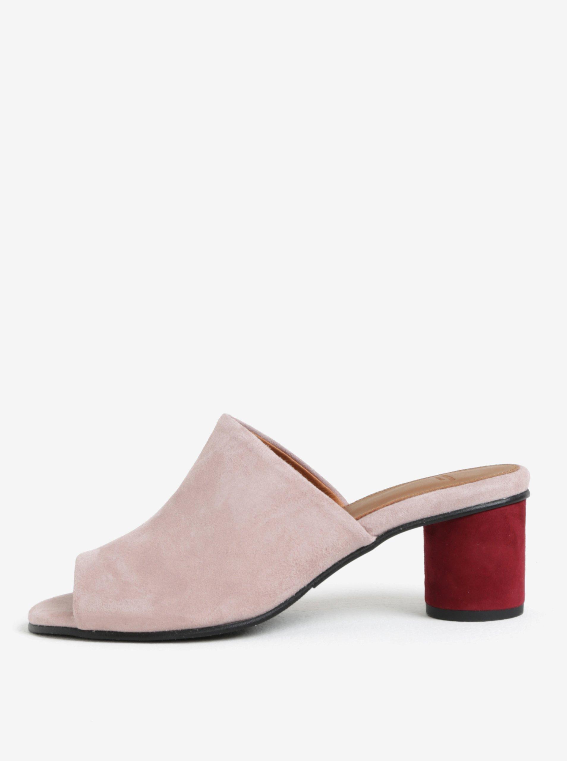 Světle růžové semišové pantofle na podpatku Selected Femme Merle eb3ea8ce0a