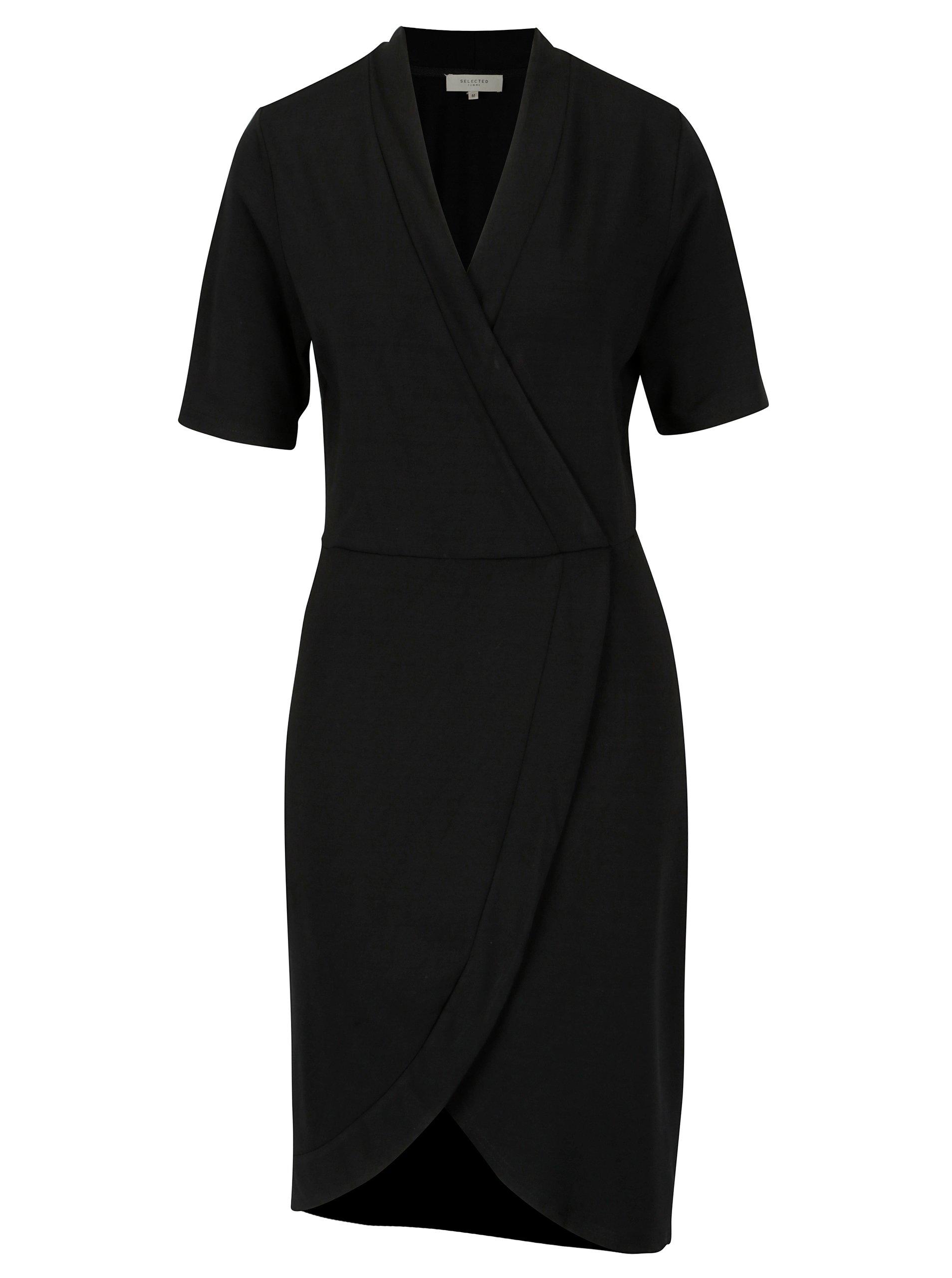 Čierne šaty s prekladaným predným dielom Selected Femme Elena