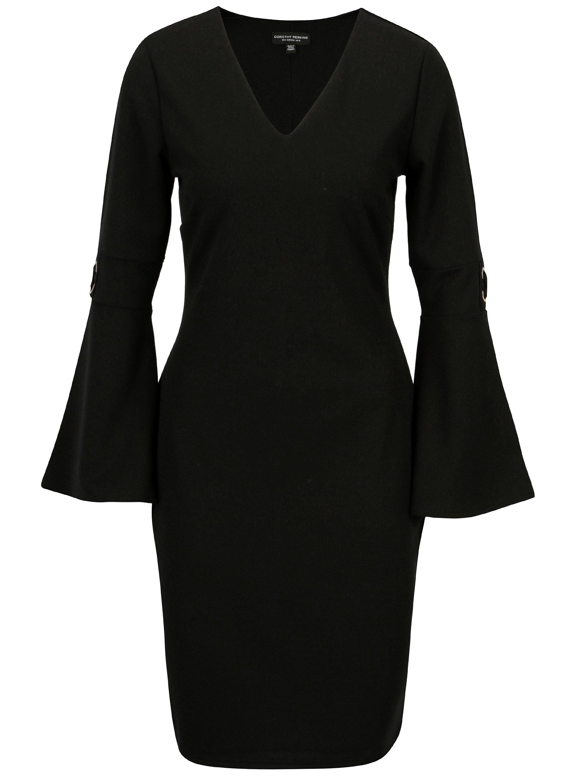 Černé šaty se zvonovými rukávy Dorothy Perkins