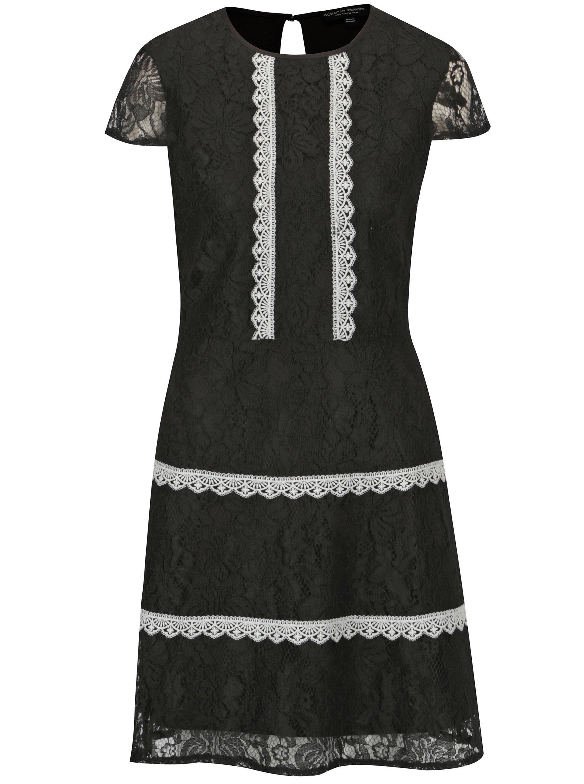 Čierne čipkované šaty Dorothy Perkins