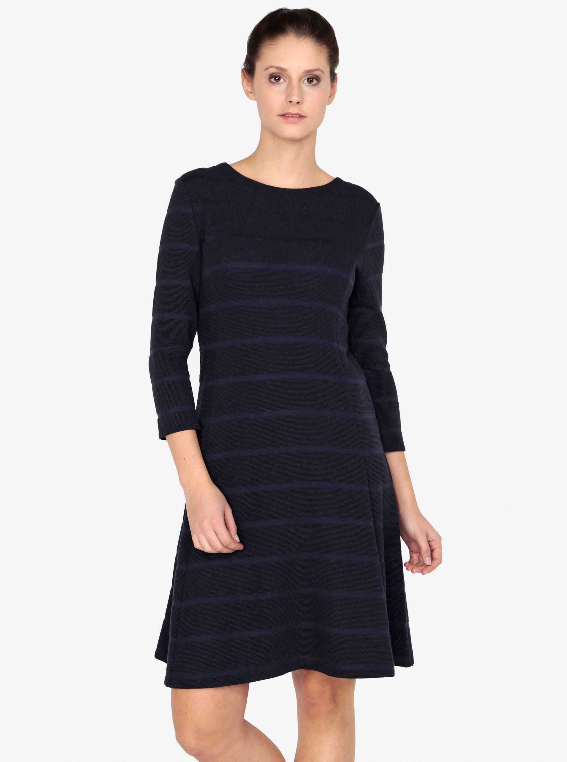 Tmavomodré pruhované šaty s 3 4 rukávom s.Oliver ab968afd51f