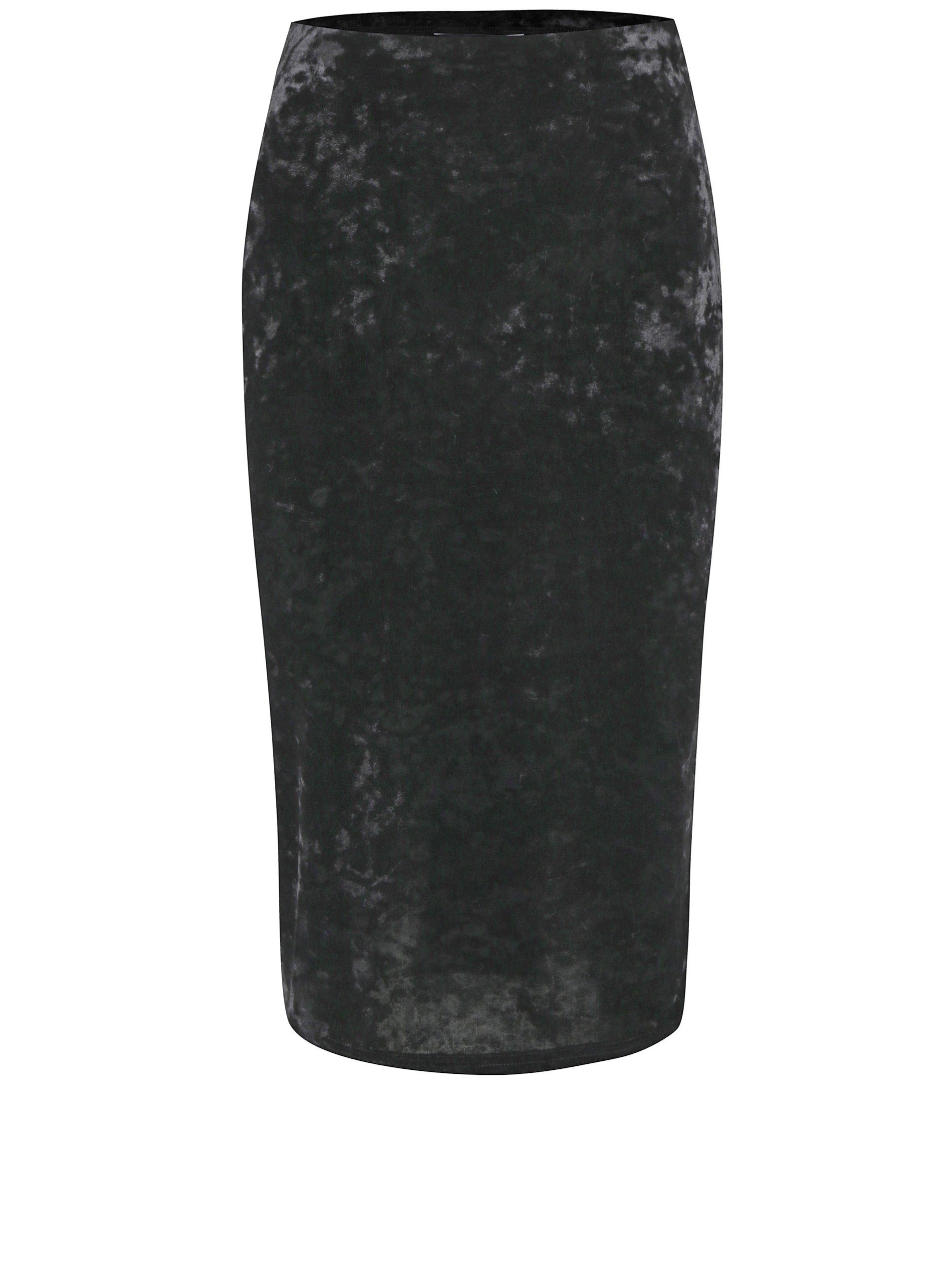 Černá sametová pouzdrová midi sukně Dorothy Perkins