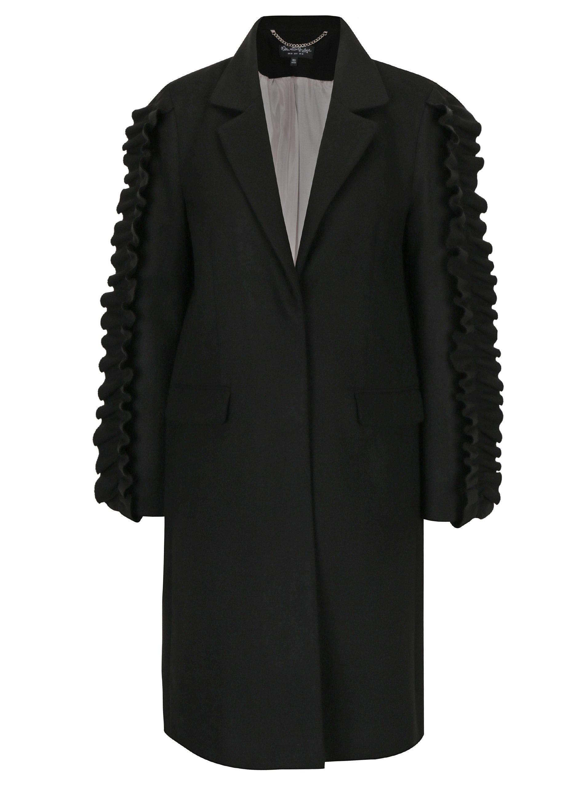 Čierny kabát s volánmi na rukávoch Miss Selfridge