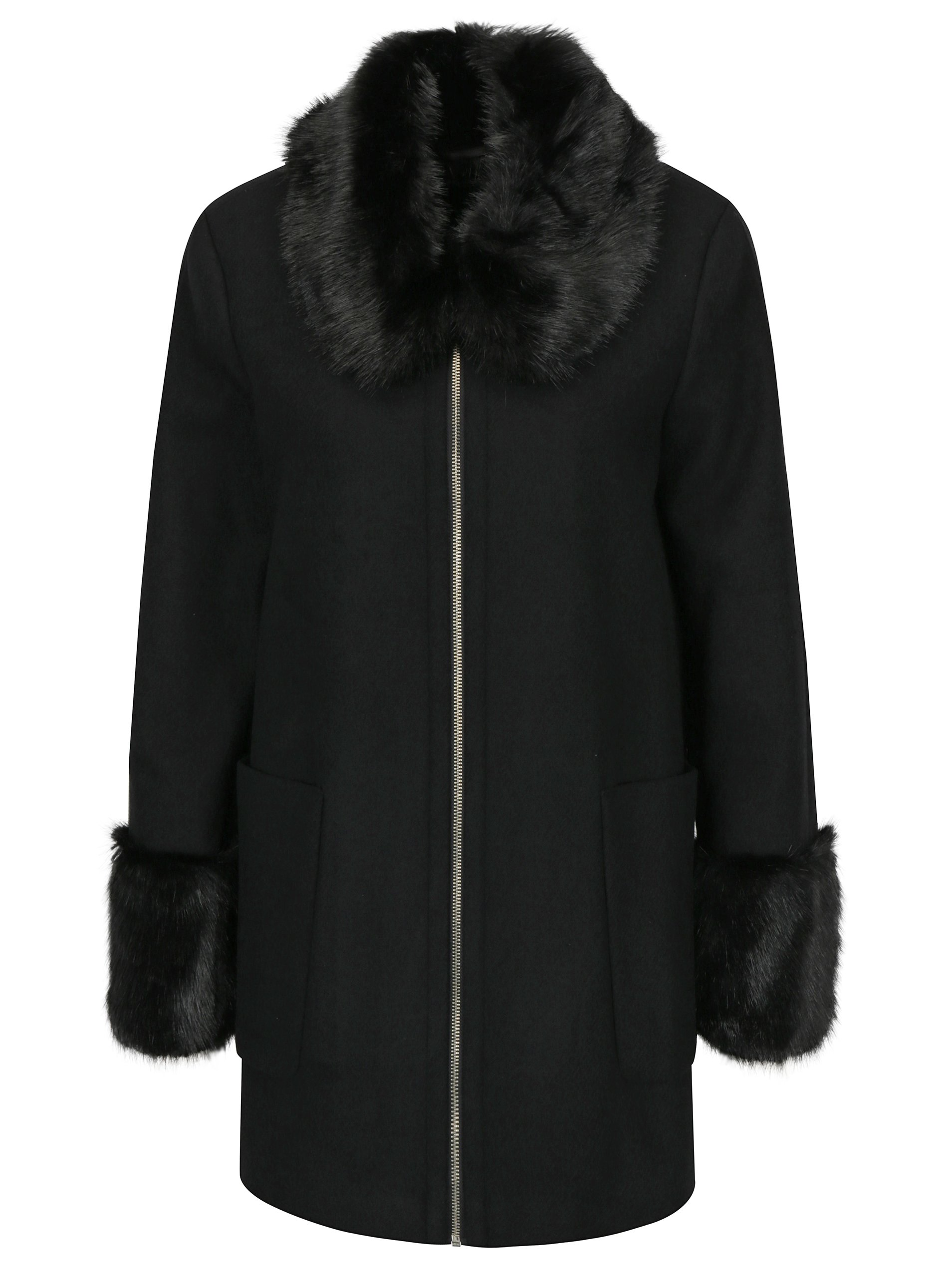 Čierny kabát s umelou kožušinou Miss Selfridge