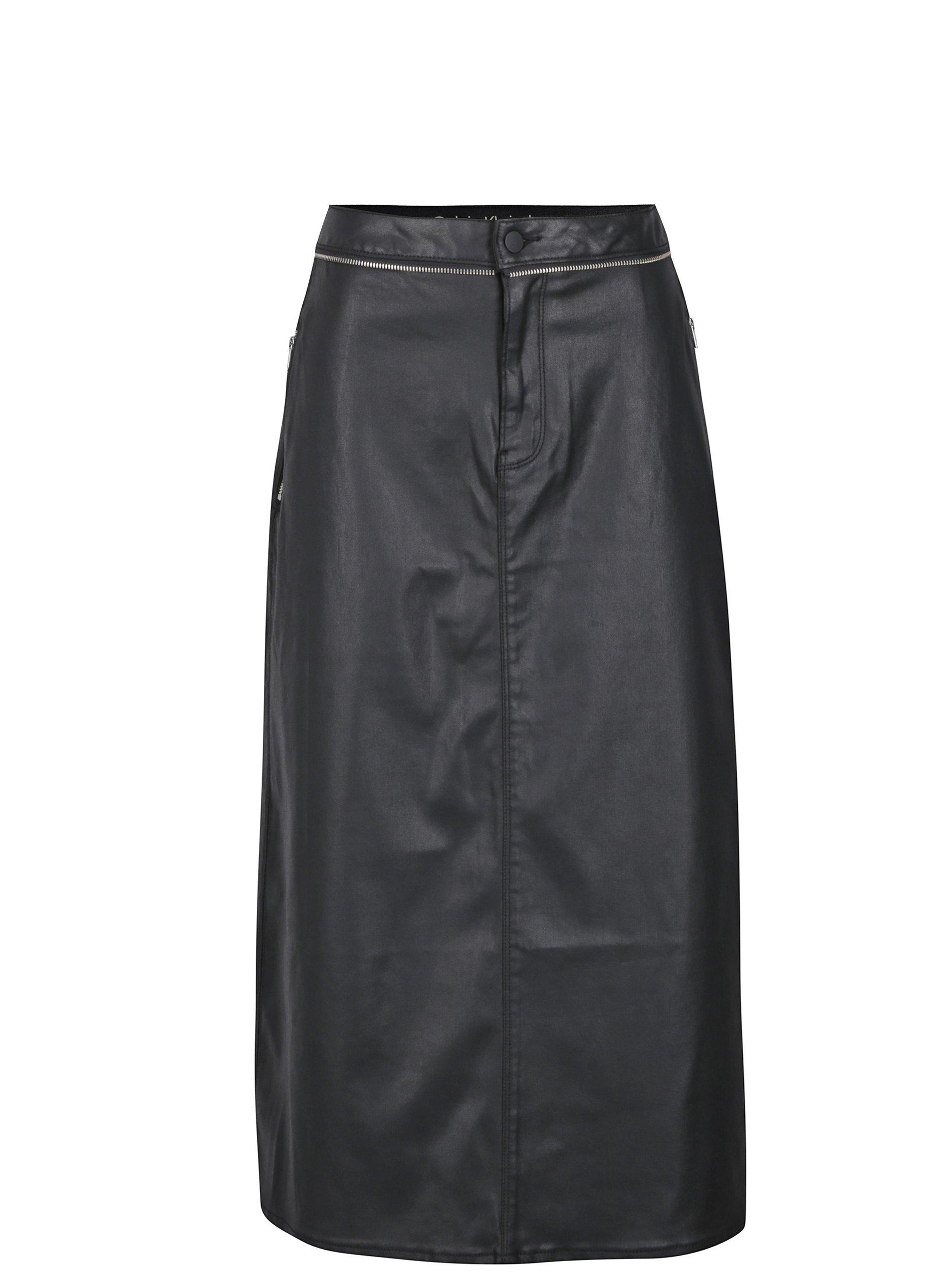Černá dámská koženková midi sukně Calvin Klein Jeans