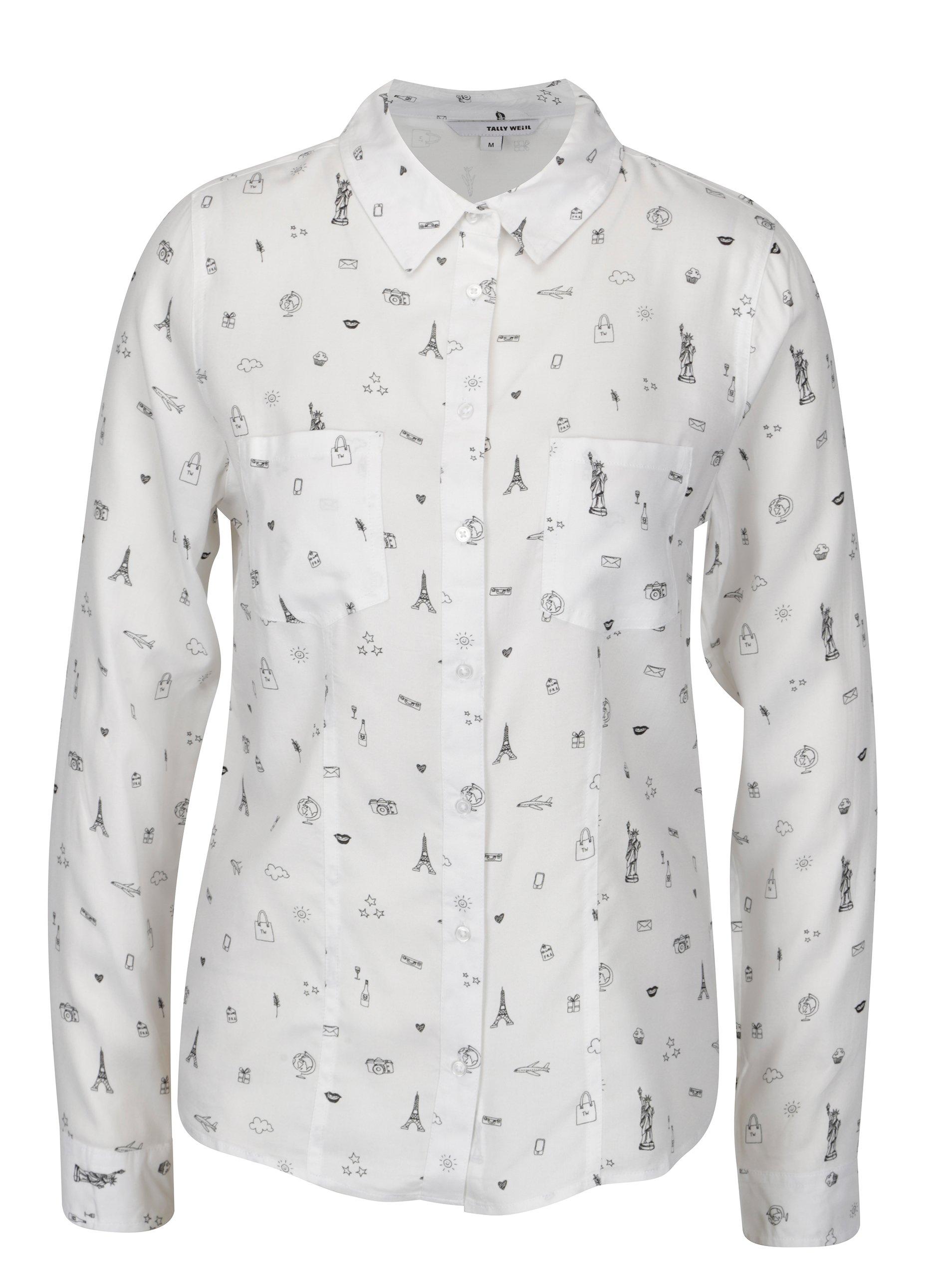 Bílá vzorovaná košile TALLY WEiJL 8f4adb3aa2