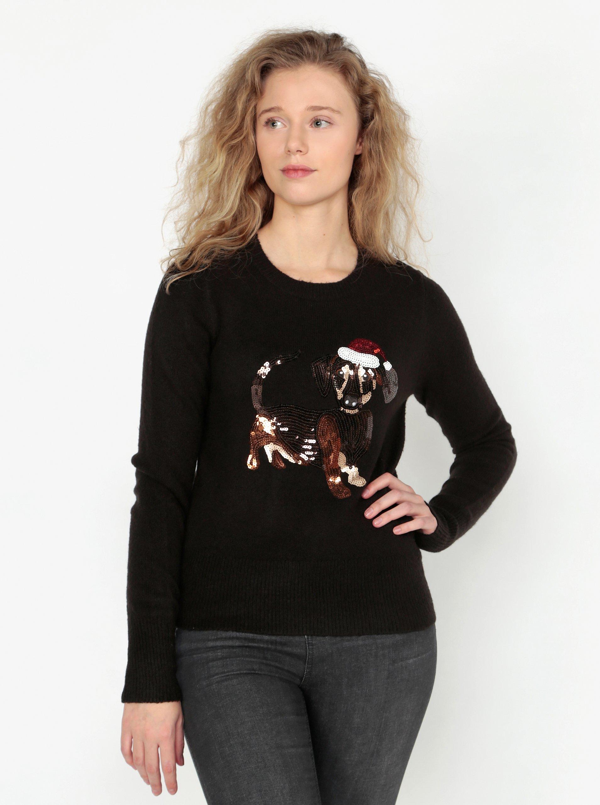 Černý svetr s motivem jezevčíka z flitrů Oasis Jumper