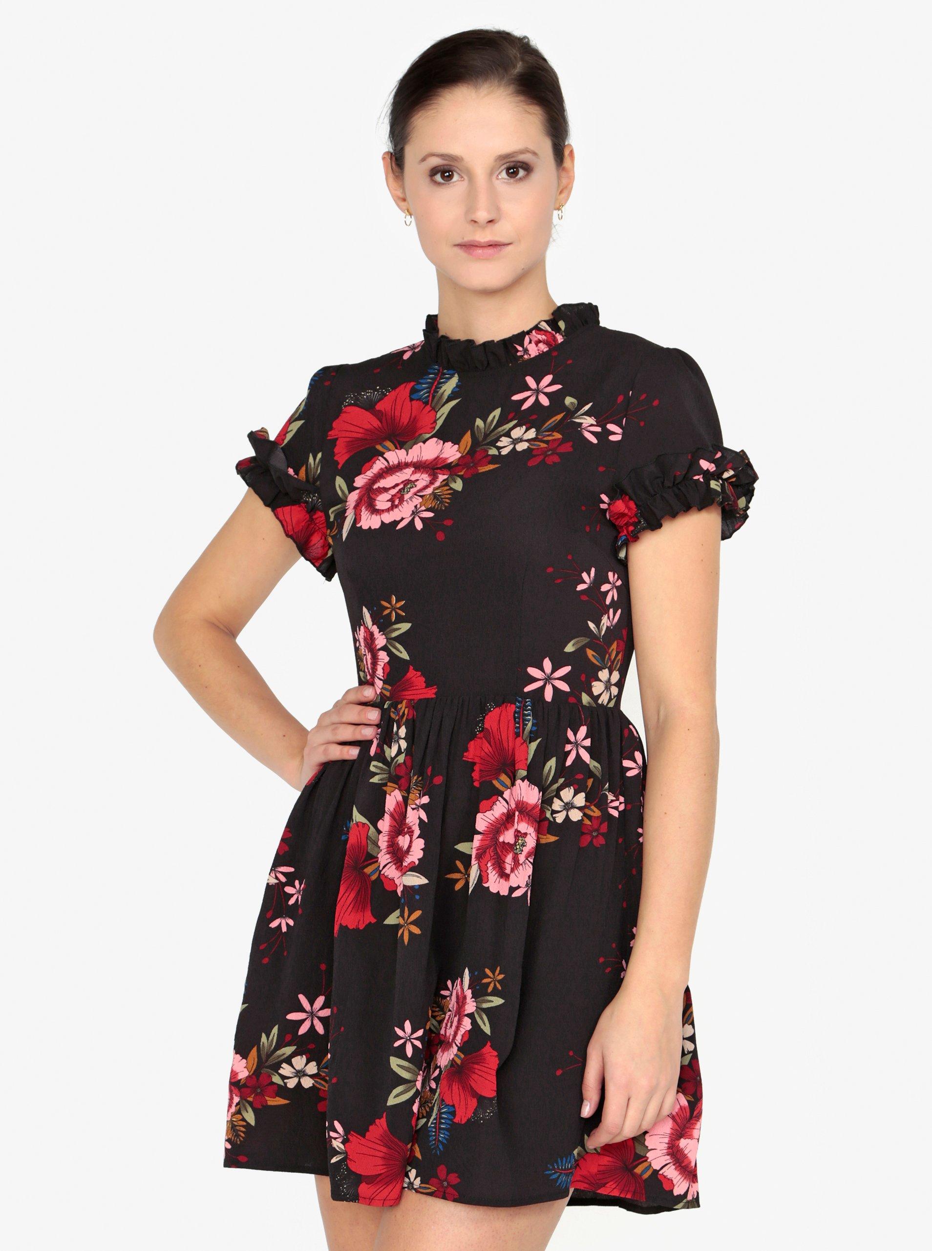 94b98af75ebc Čierne kvetované šaty s krátkym rukávom AX Paris