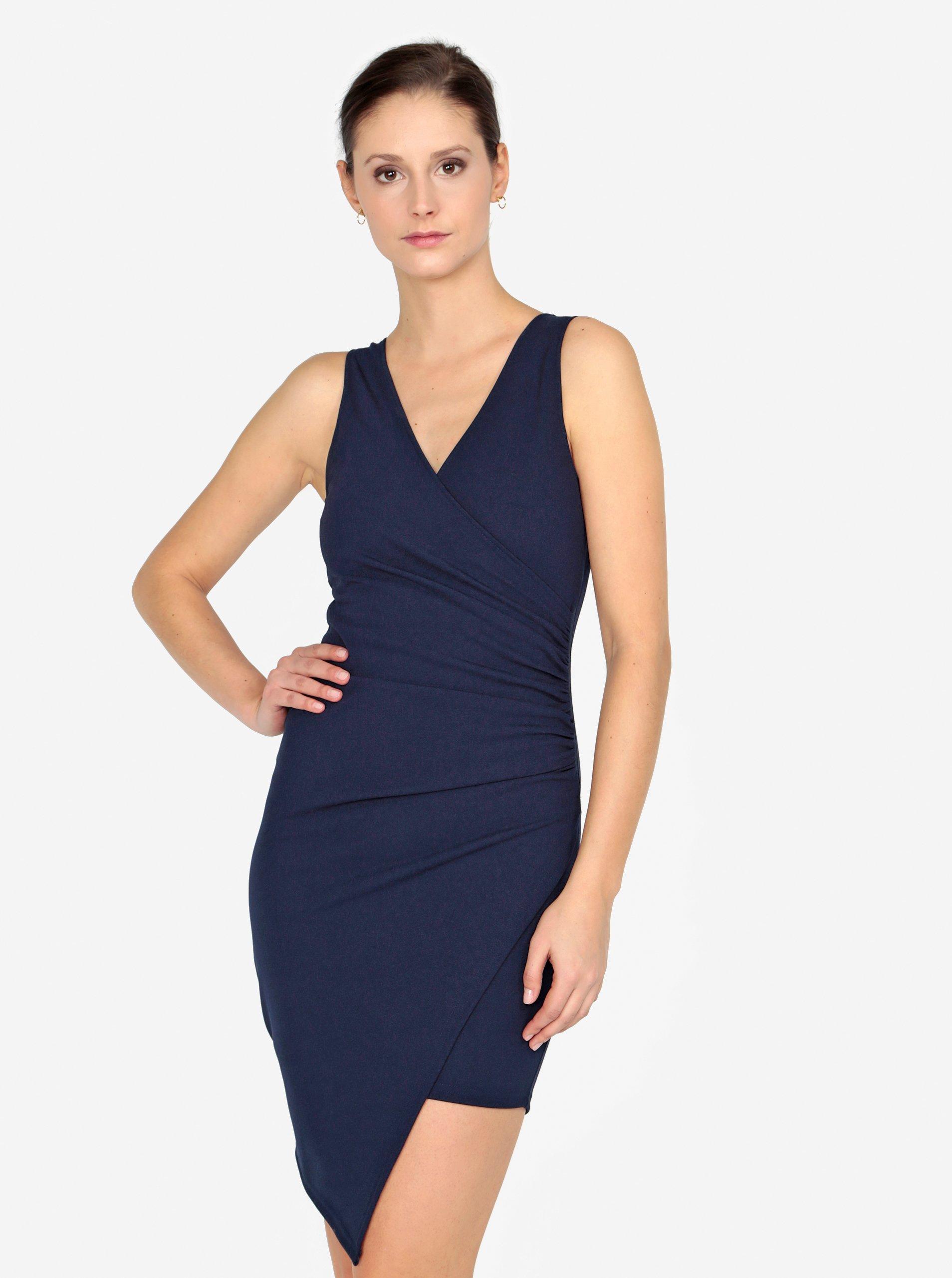 Tmavě modré šaty s překládaným výstřihem AX Paris 56946af8c1