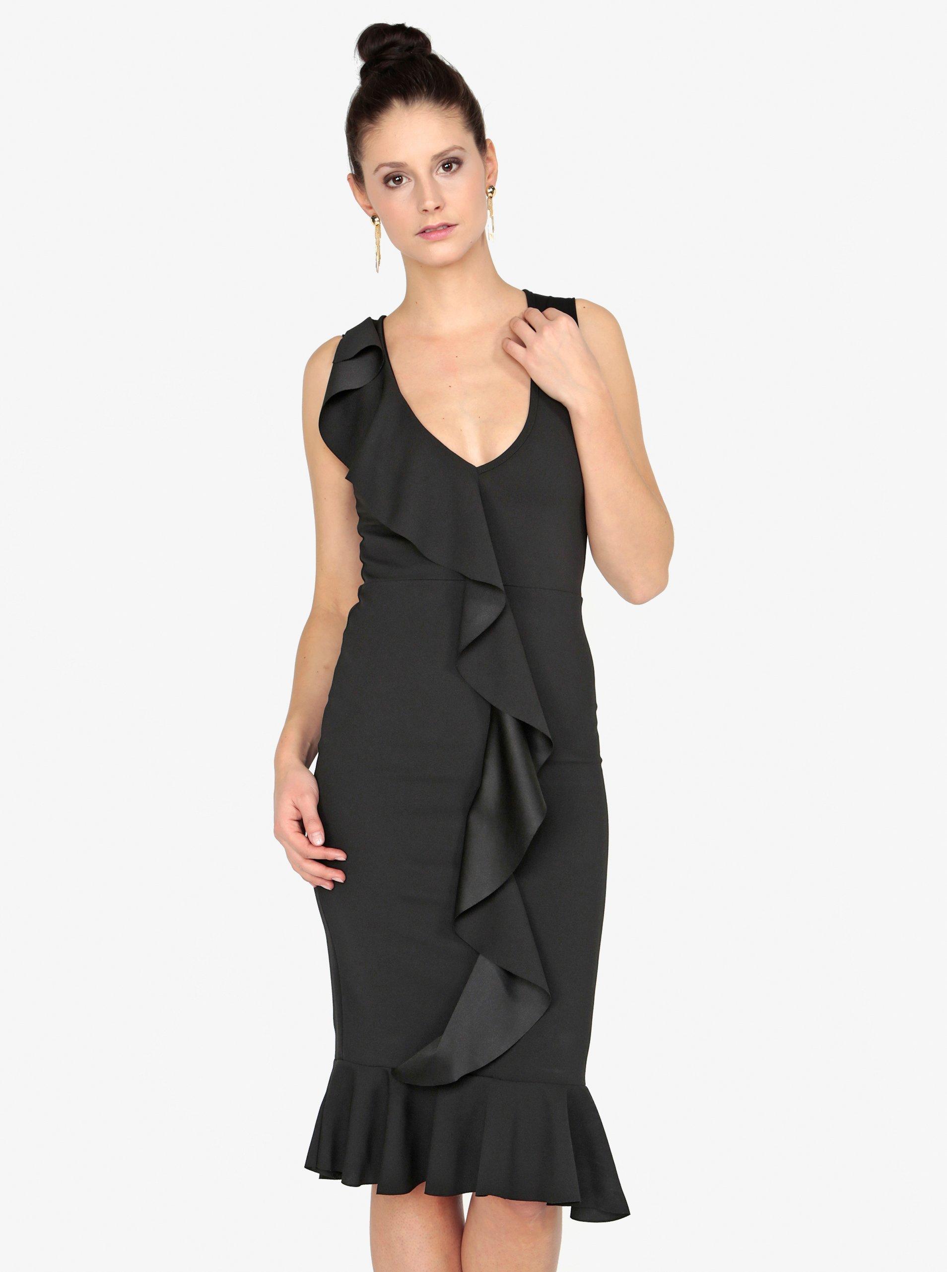 Černé pouzdrové šaty s volánem MISSGUIDED