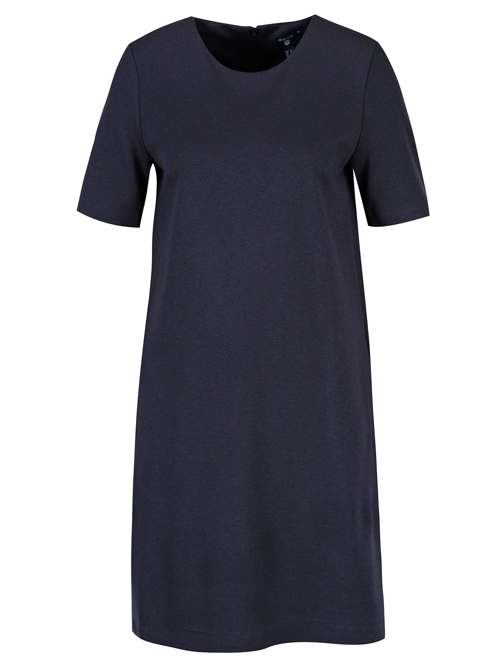 Tmavě modré rovné šaty s krátkým rukávem GANT
