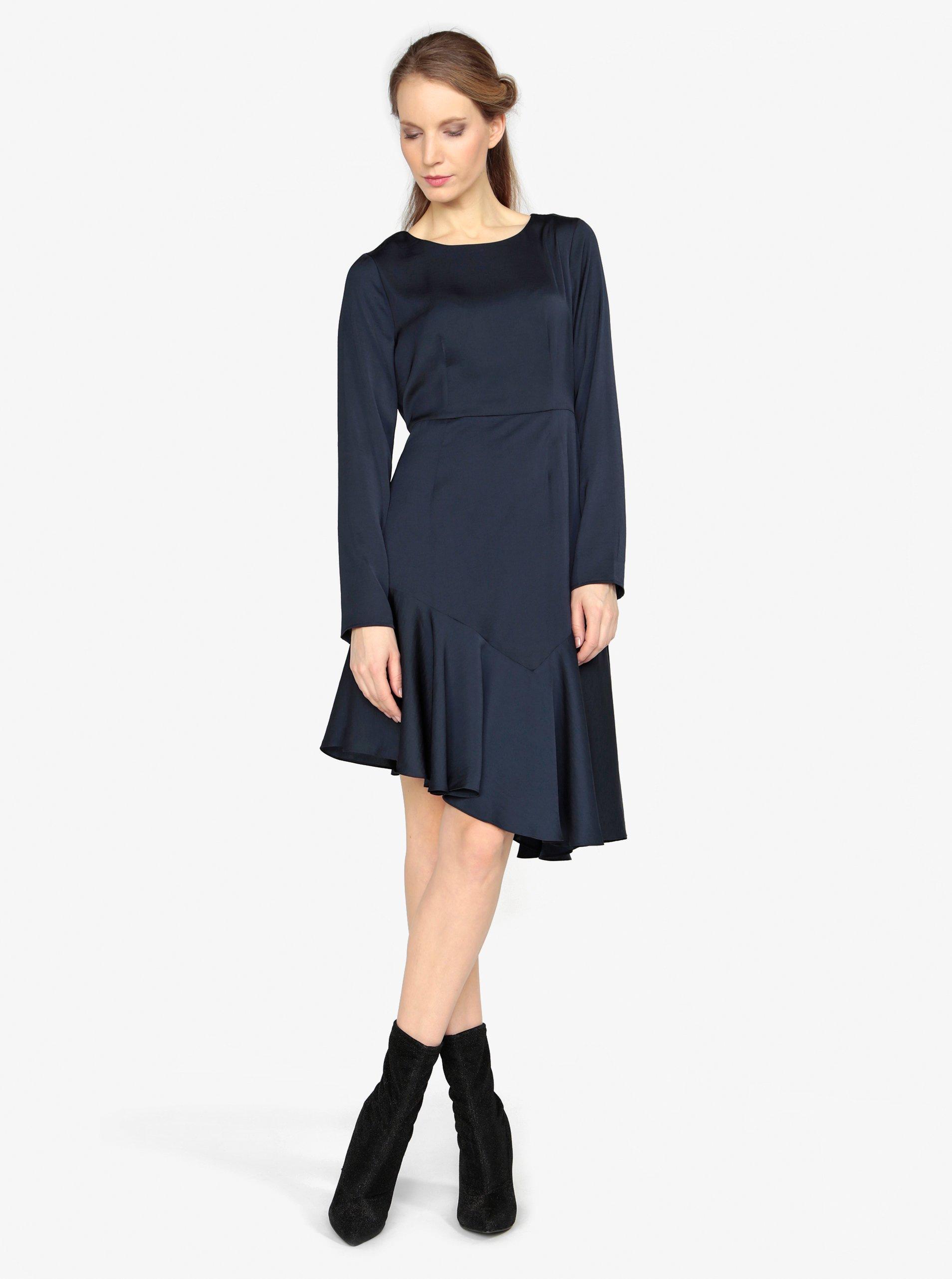 Tmavomodré asymetrické šaty s dlhým rukávom VERO MODA Elsa b57c1c8730d