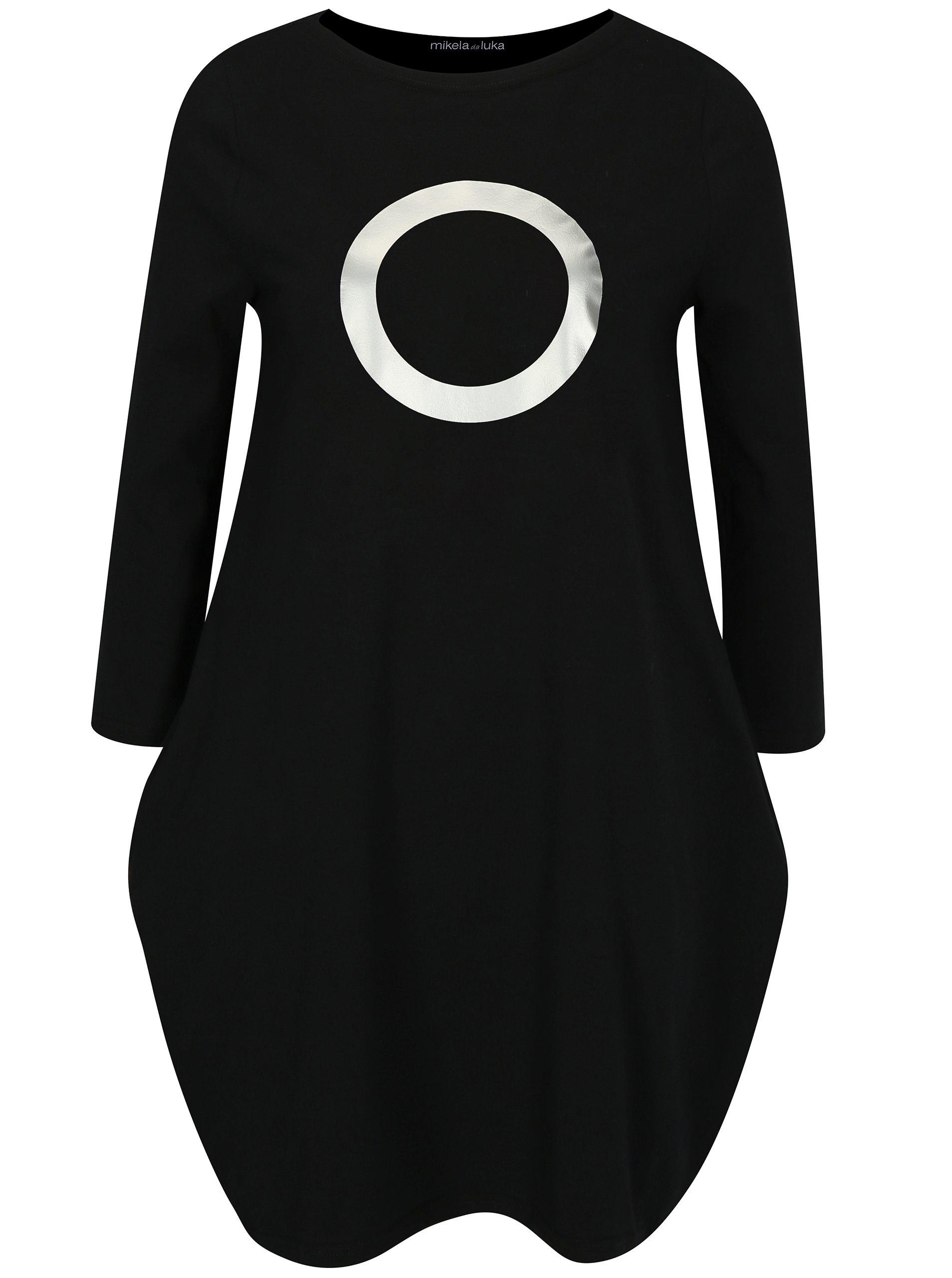 Černé balónové šaty s potiskem ve stříbrné barvě Mikela da Luka