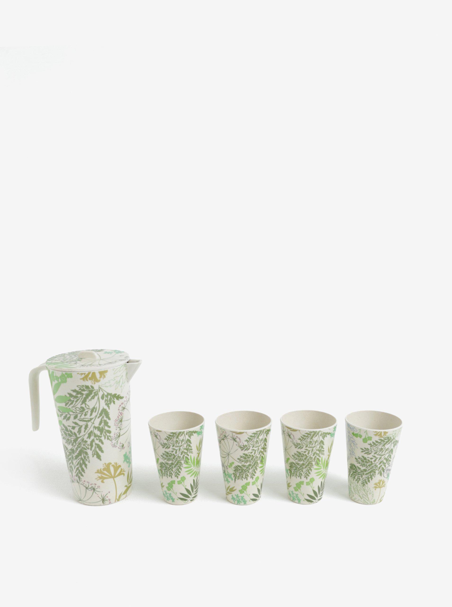 Krémová súprava karafy a štyroch pohárov Kaemingk