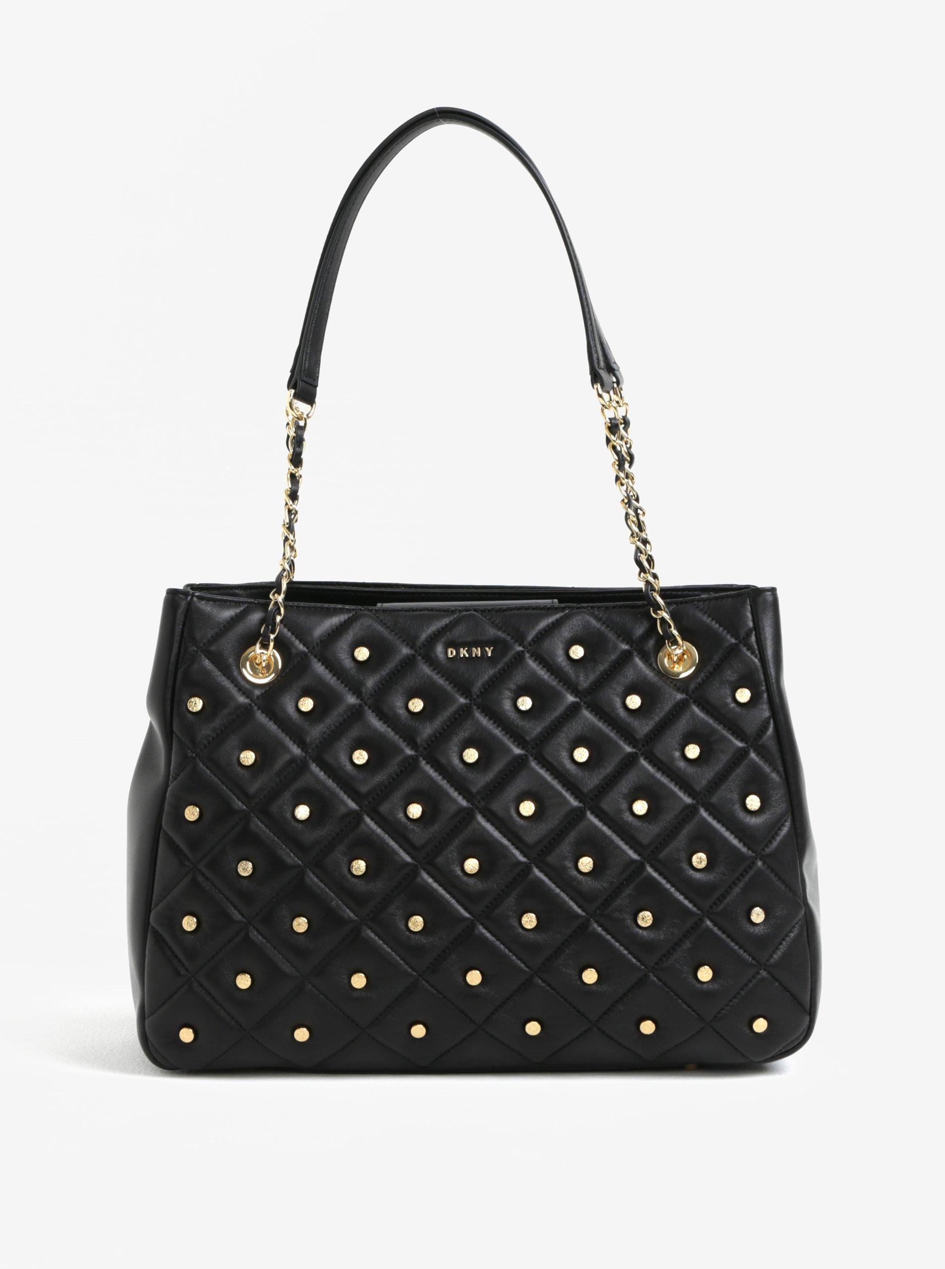 Čierna veľká kožená kabelka s detailmi v zlatej farbe DKNY Barbara