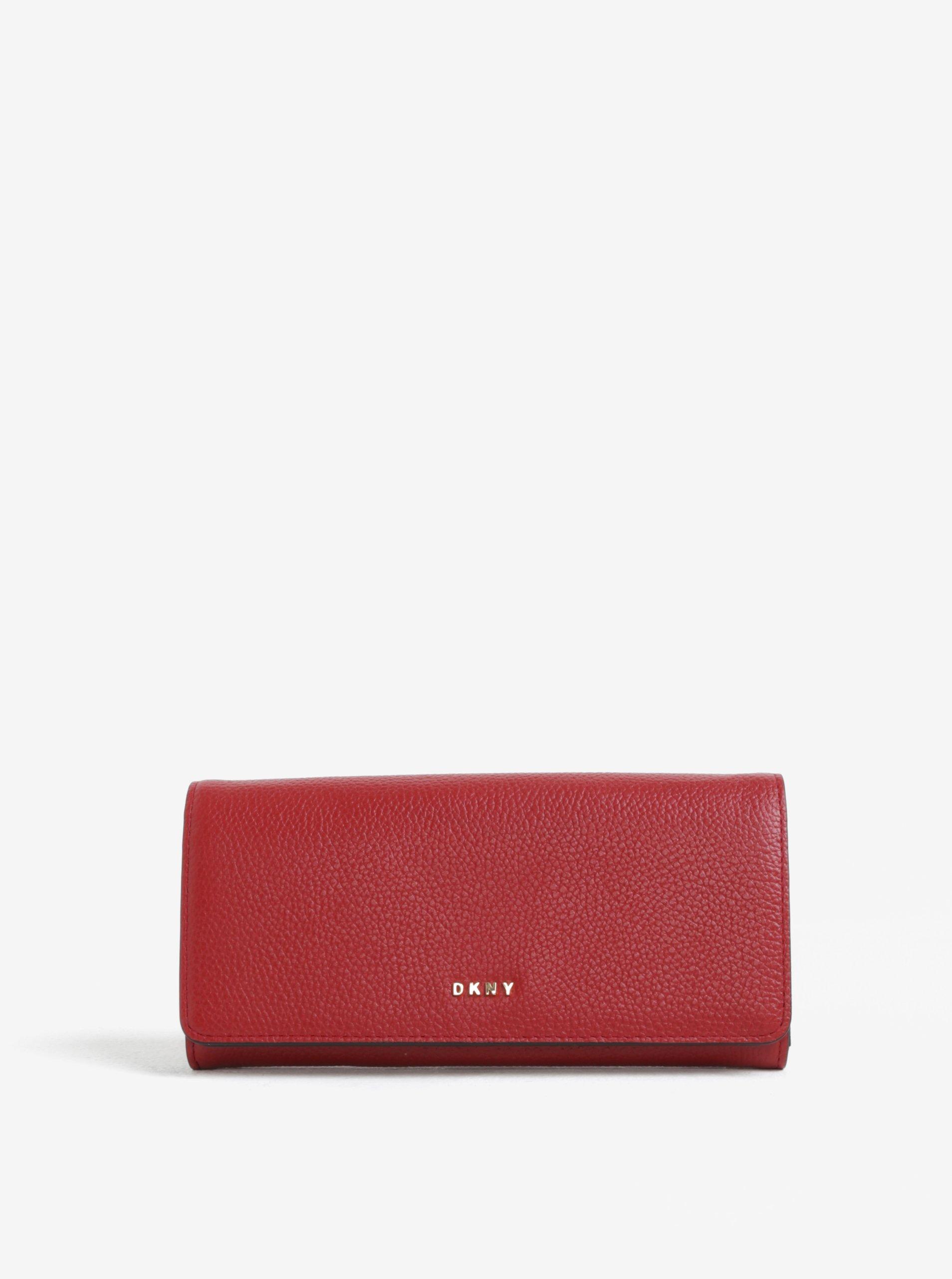 Červená velká kožená peněženka DKNY Carryall