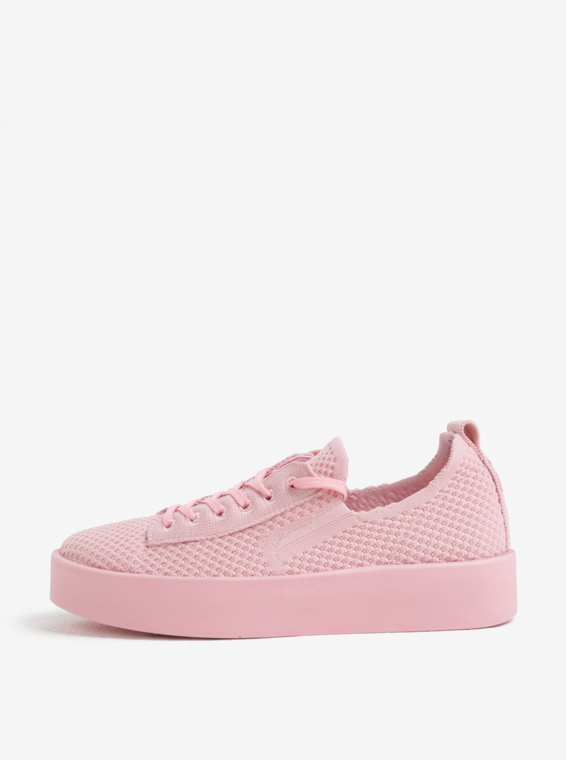 Růžové dámské pletené tenisky na platformě s.Oliver