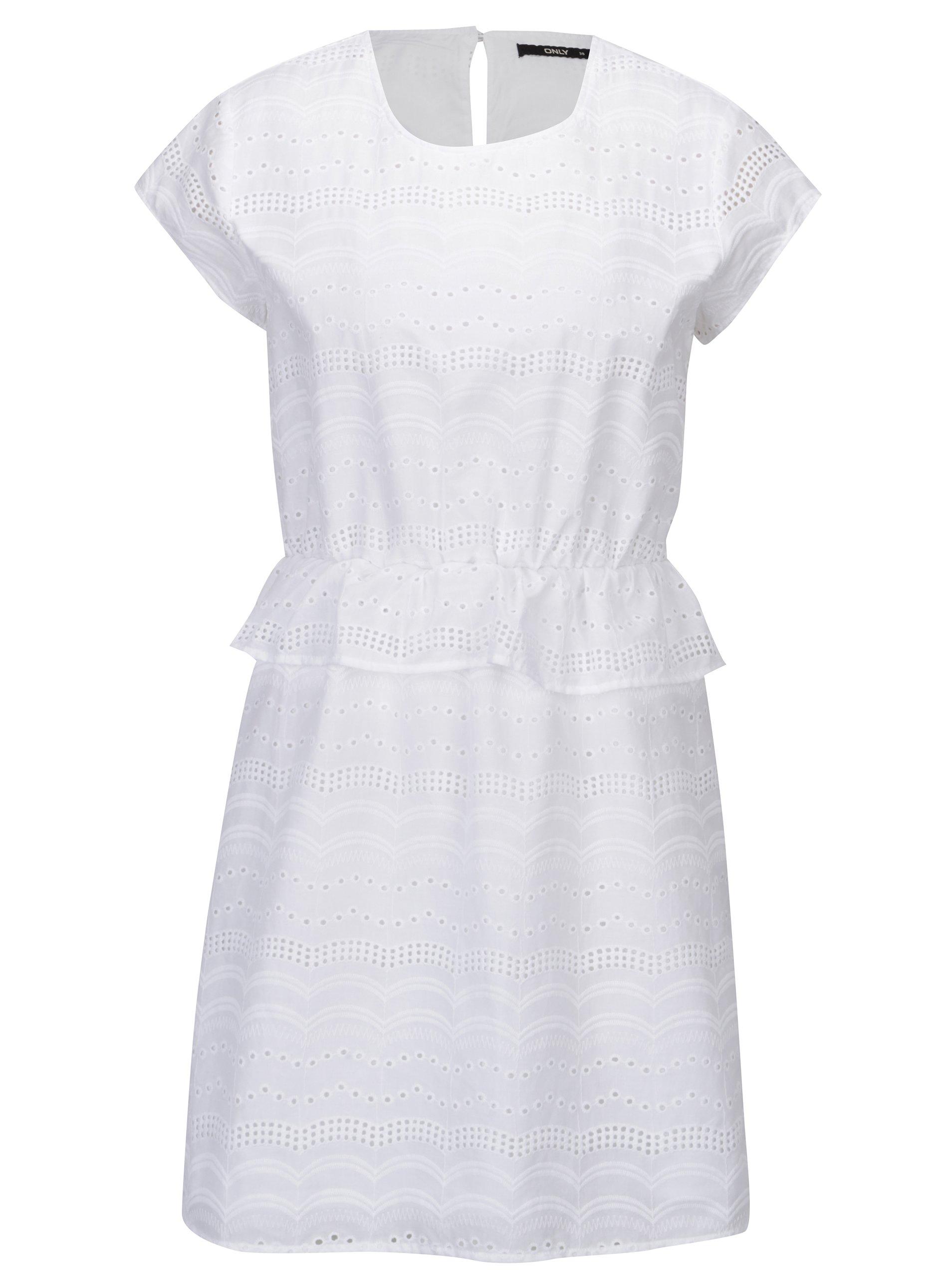 Bílé šaty s madeirou ONLY Silvija
