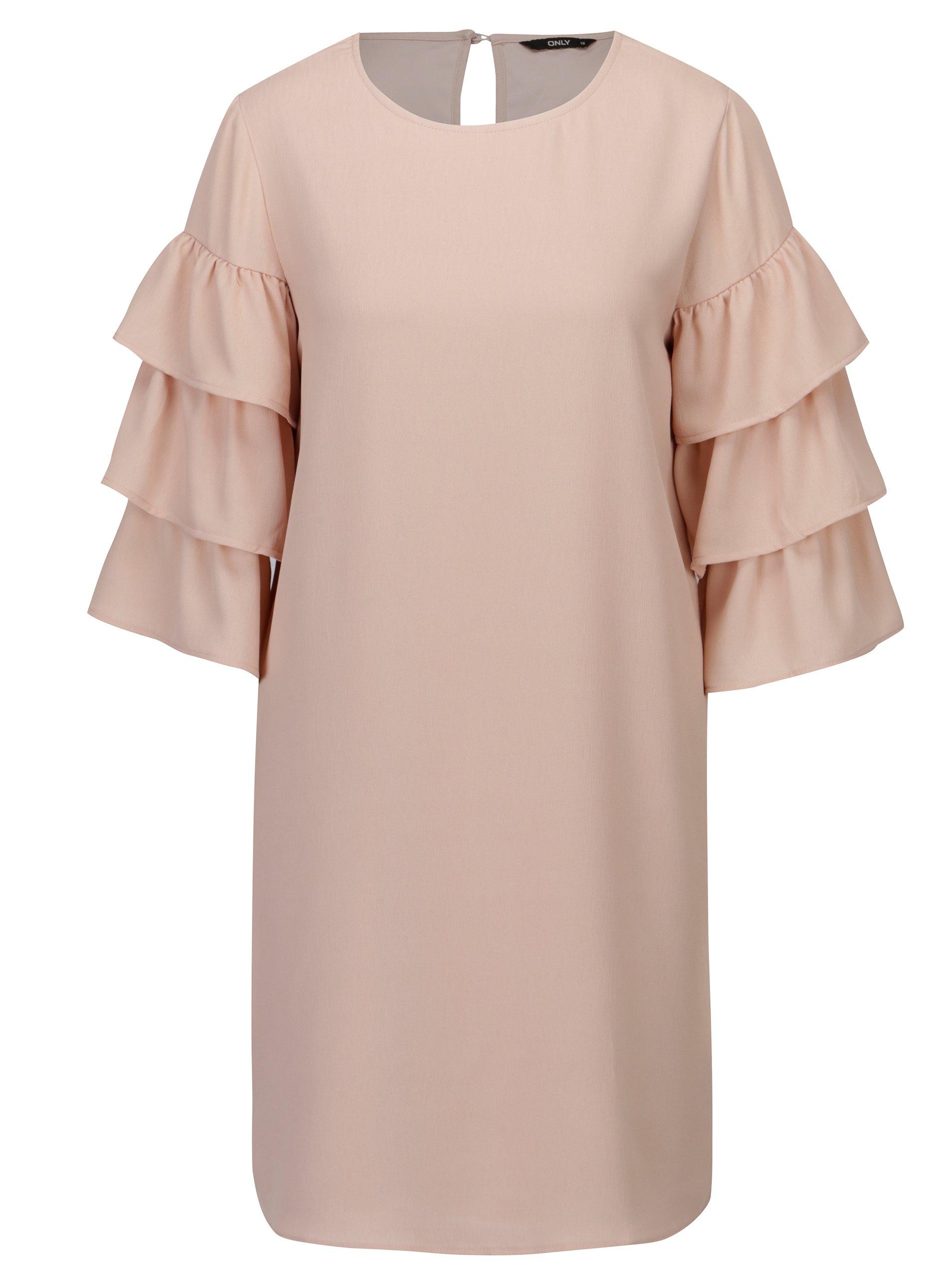 Starorůžové šaty s volány na rukávech ONLY Caroline