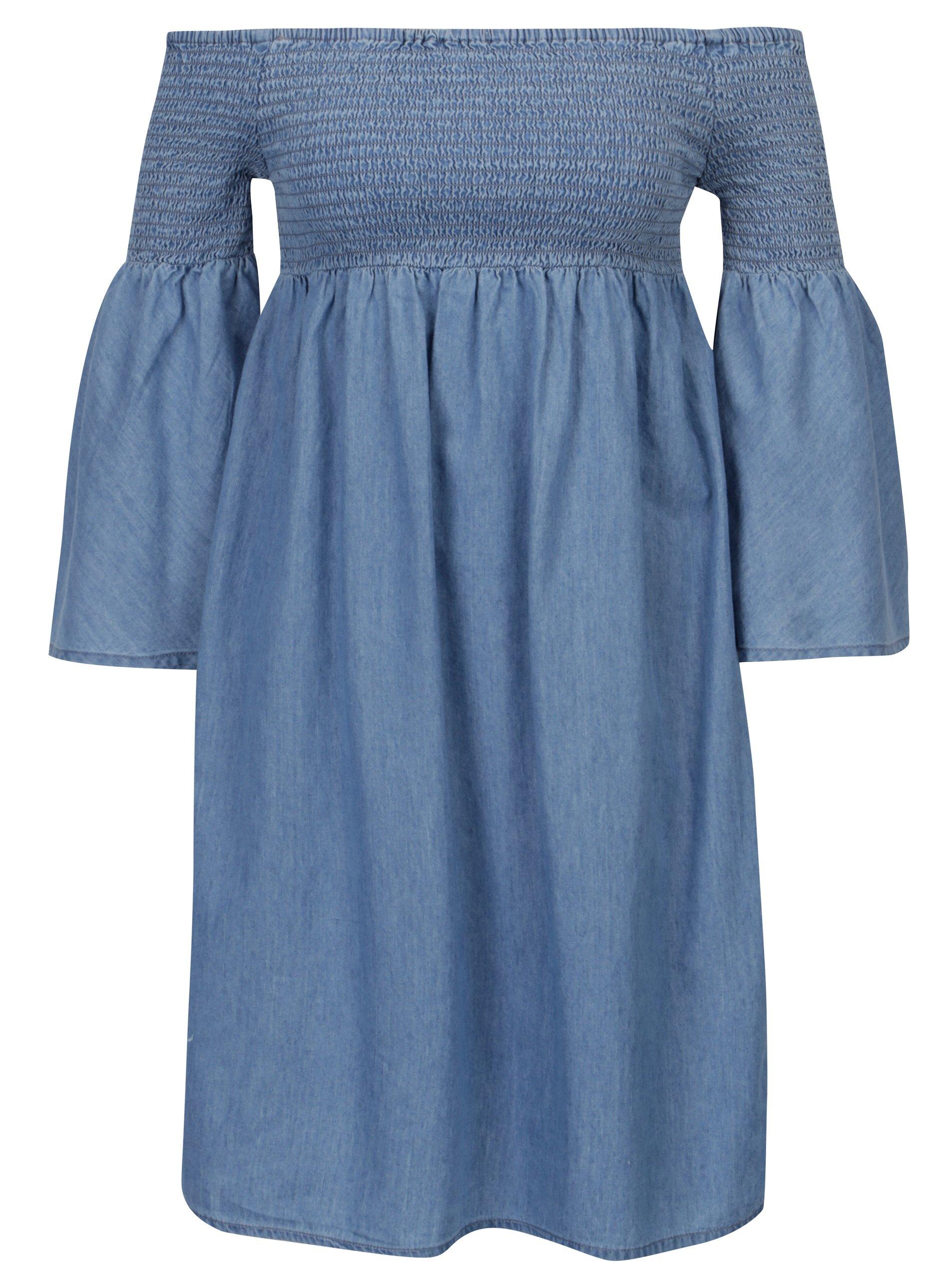 Modré šaty s odhalenými rameny ONLY Hermion