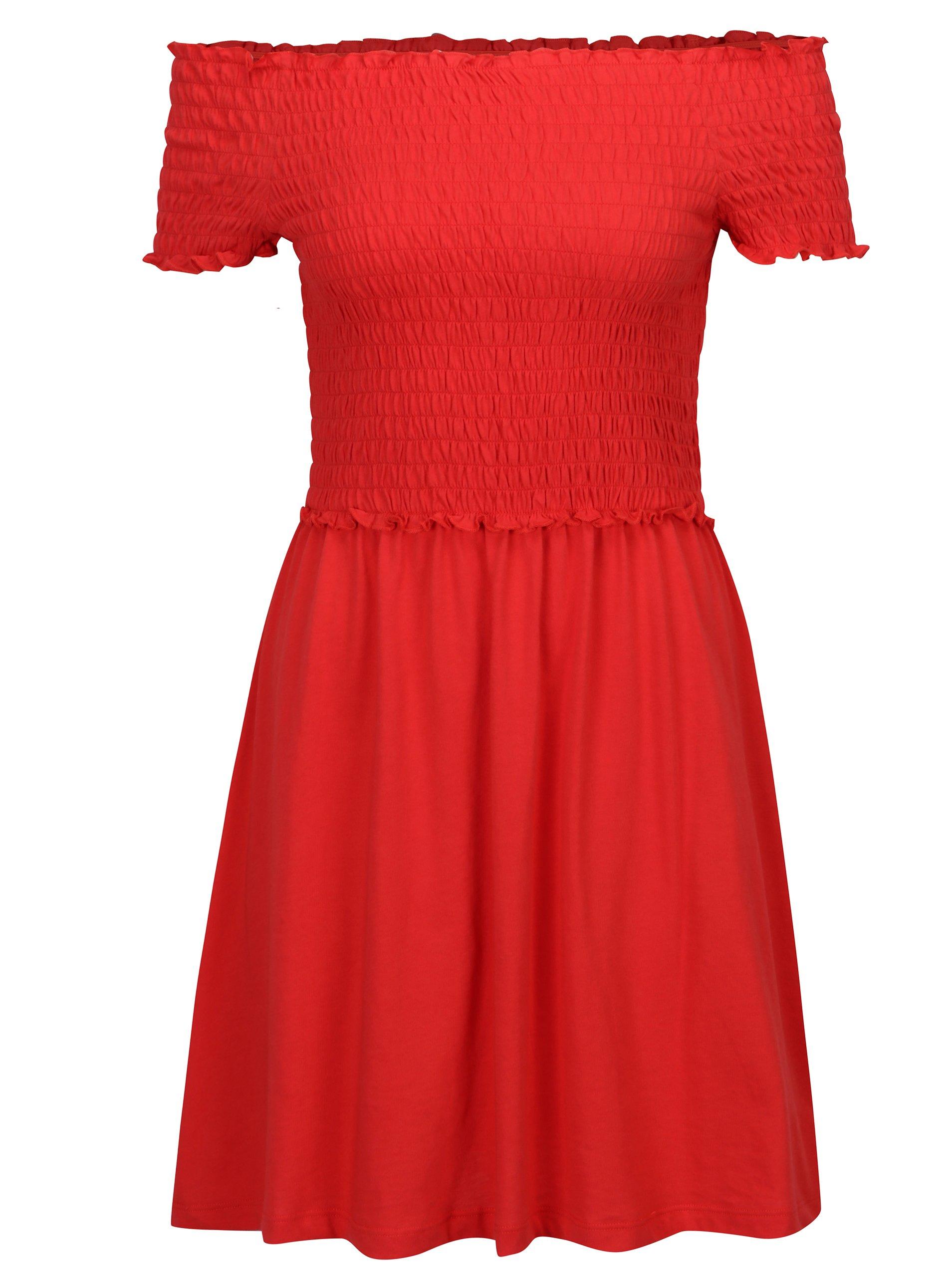 Červené šaty s odhalenými rameny ONLY Naomi