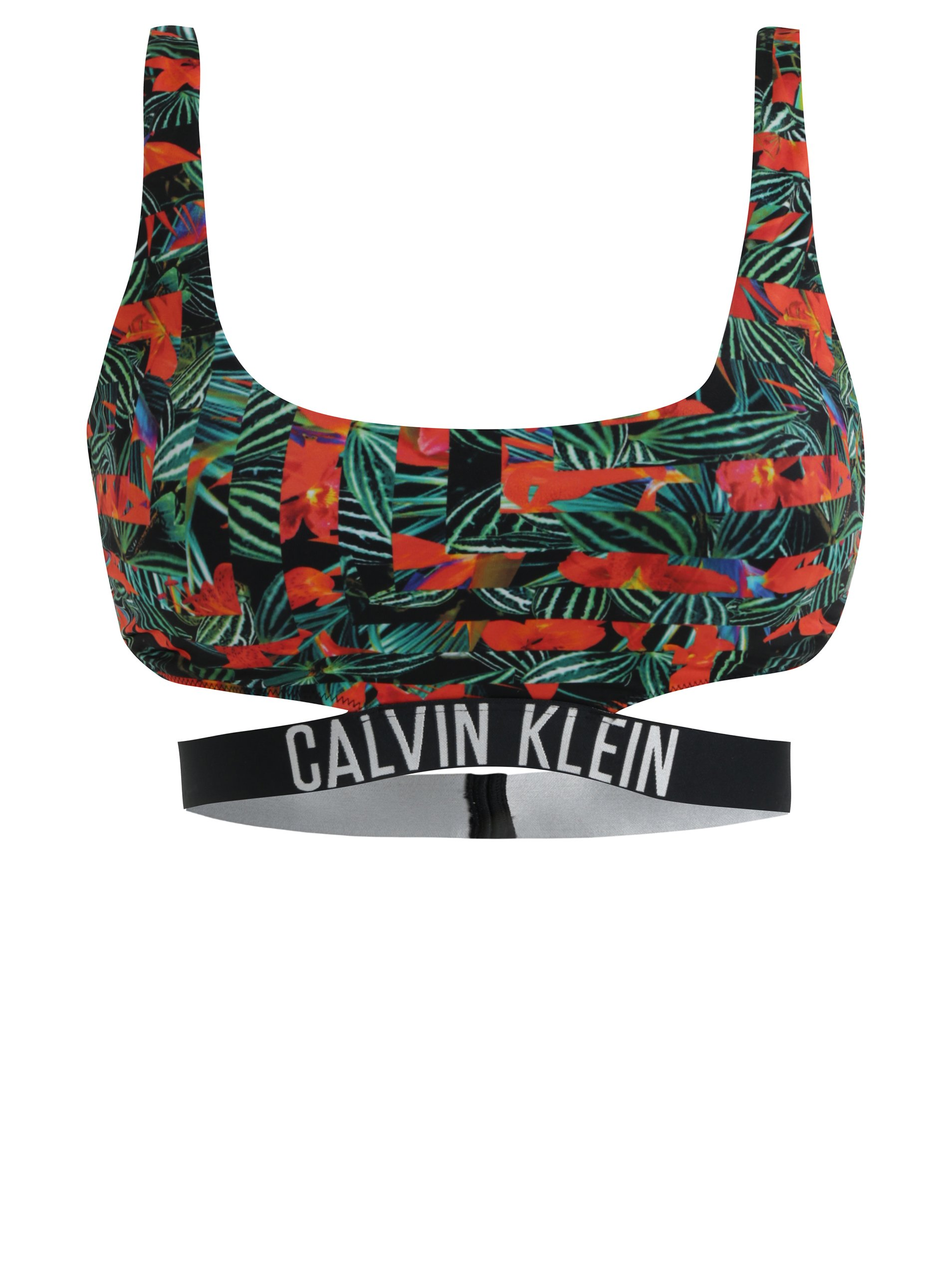Černý vzorovaný horní díl plavek Calvin Klein