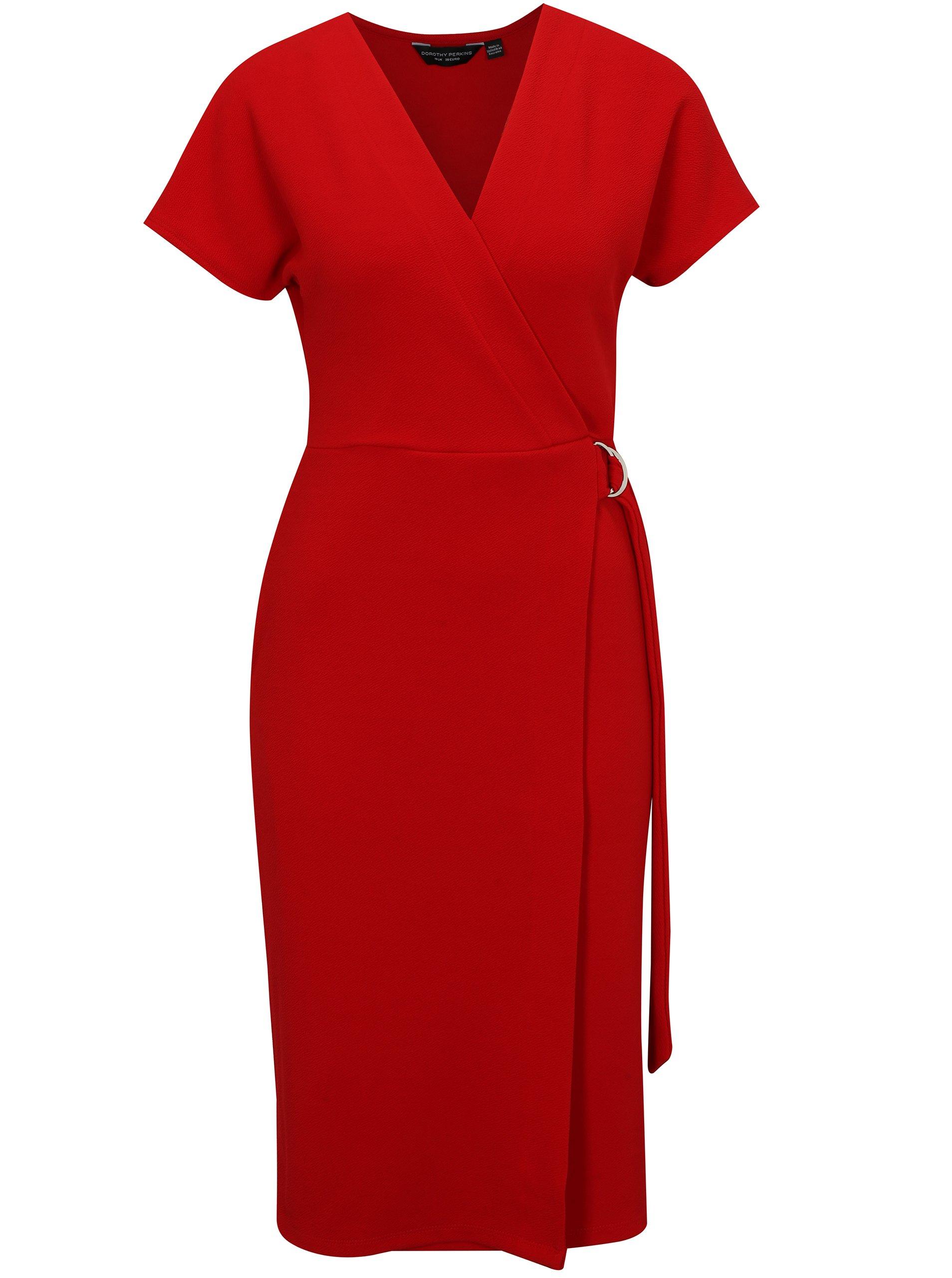 Červené šaty s prekladaným výstrihom Dorothy Perkins e9a5f462769
