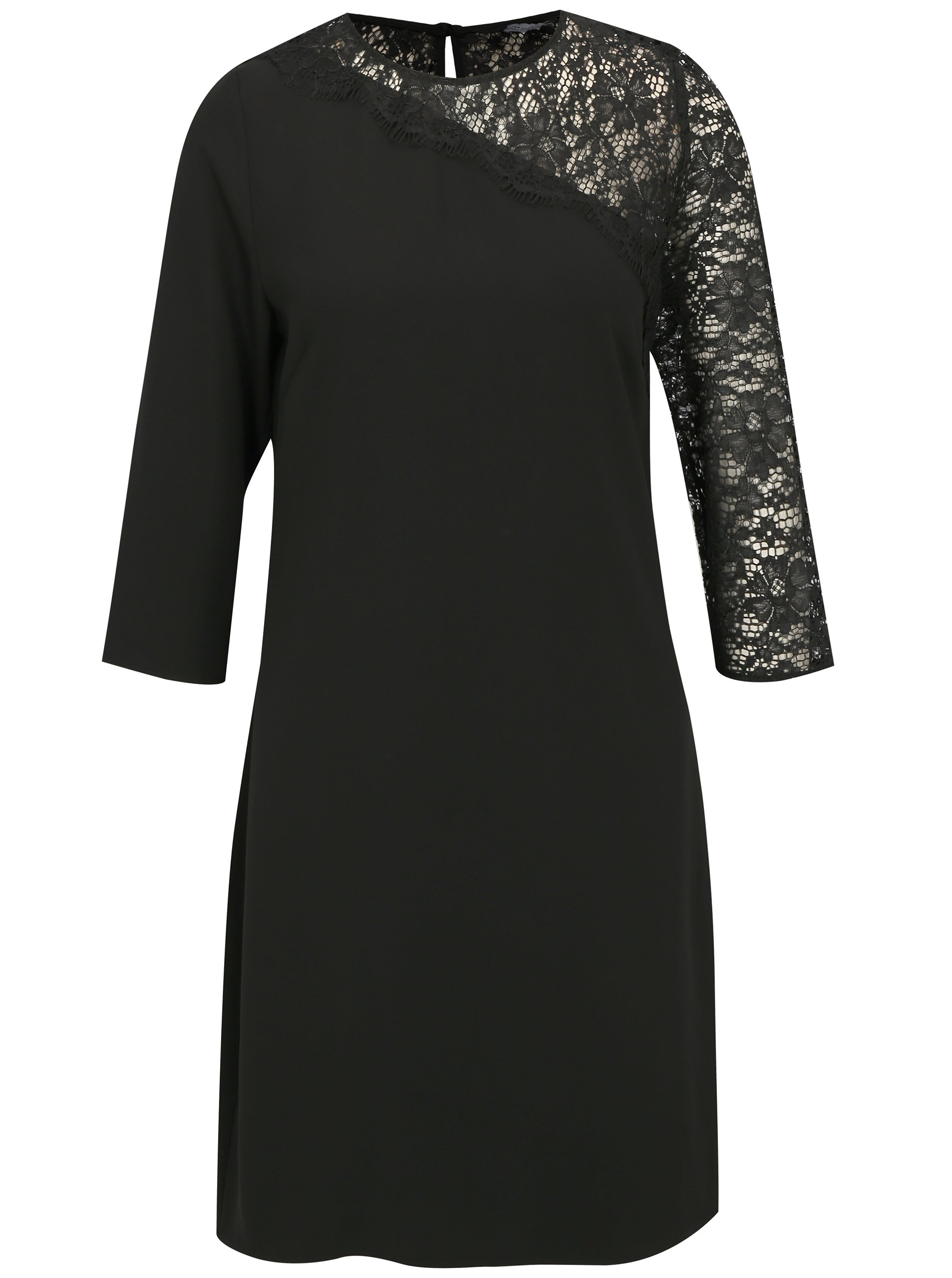 Černé šaty s 3 4 rukávem a krajkou Dorothy Perkins d8cb8fb01e9