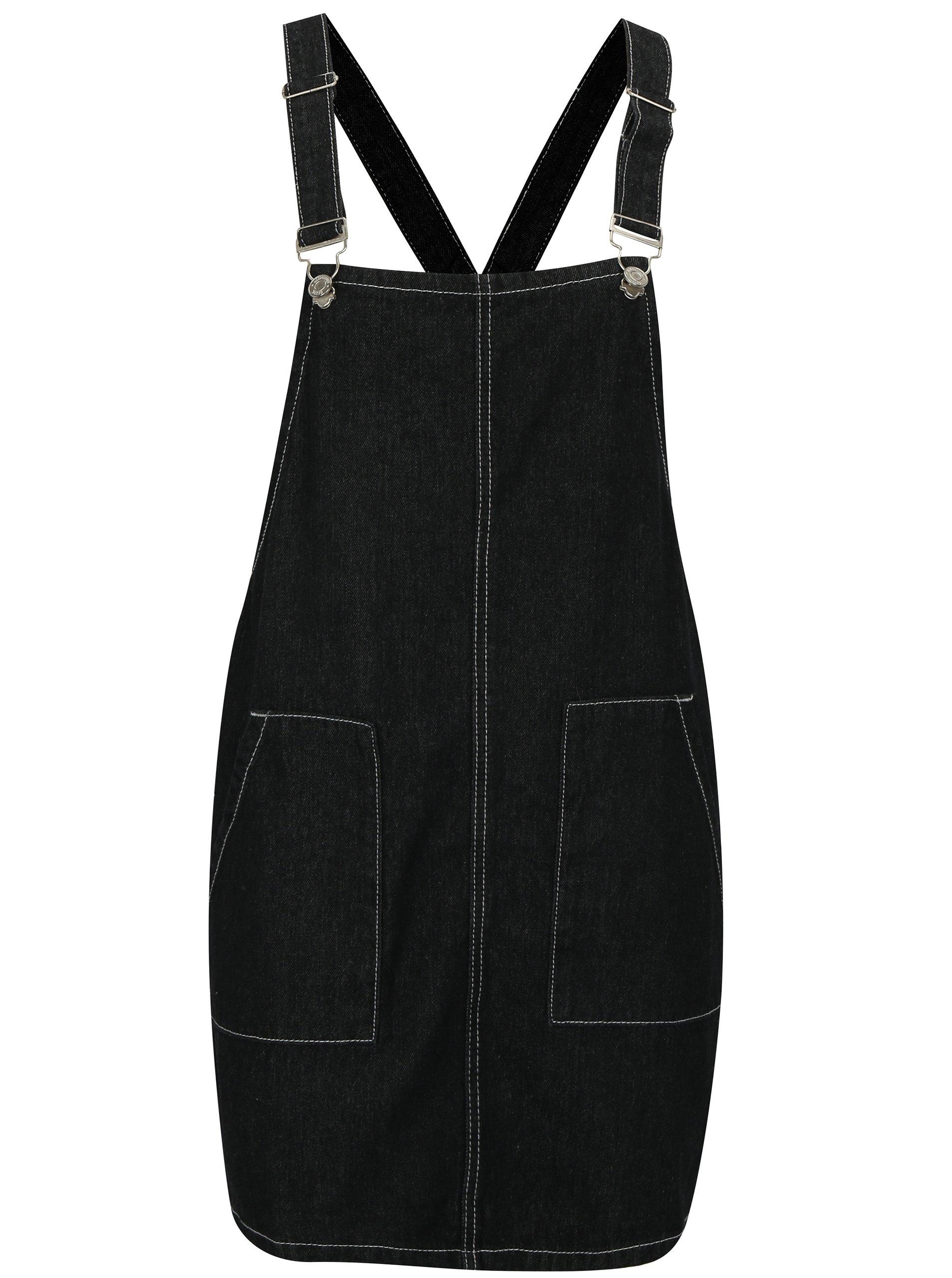 Černé džínové šaty s laclem MISSGUIDED d3cf27c733