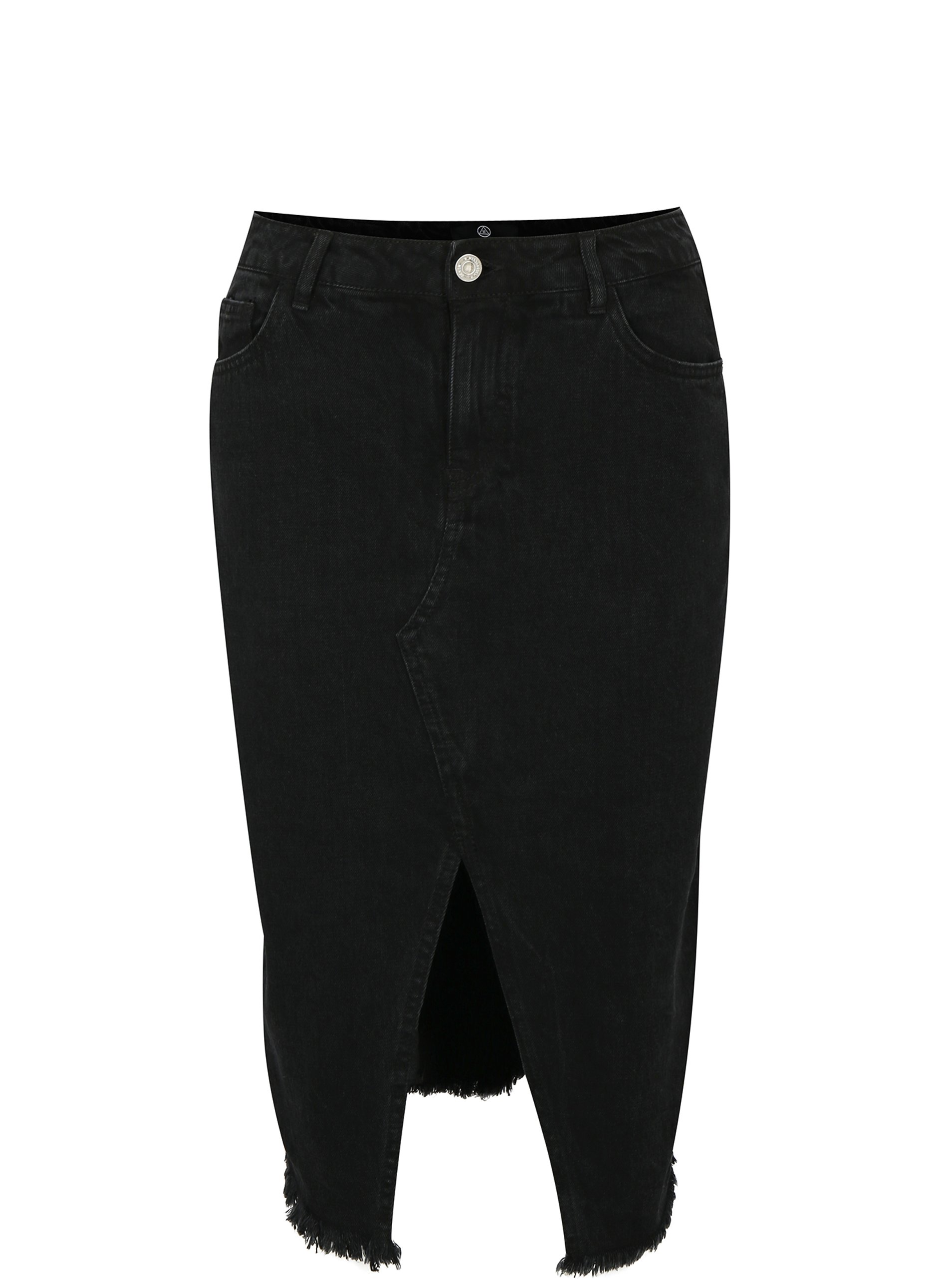 Černá džínová pouzdrová sukně s rozparkem MISSGUIDED