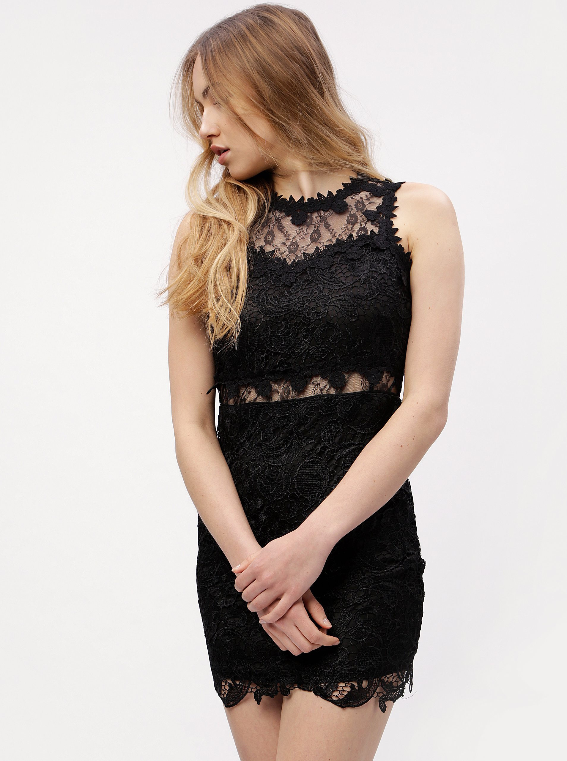 Čierne čipkované šaty MISSGUIDED