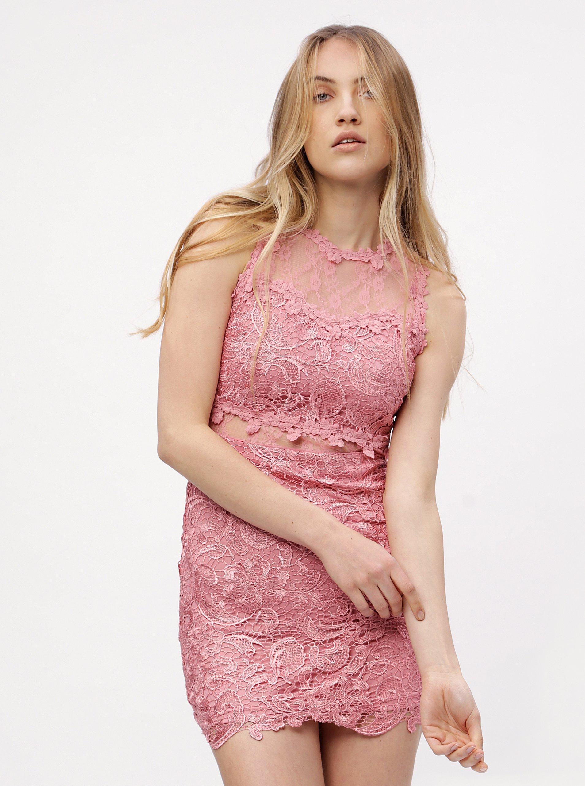 c6a9375fb4f4 Ružové čipkované šaty MISSGUIDED