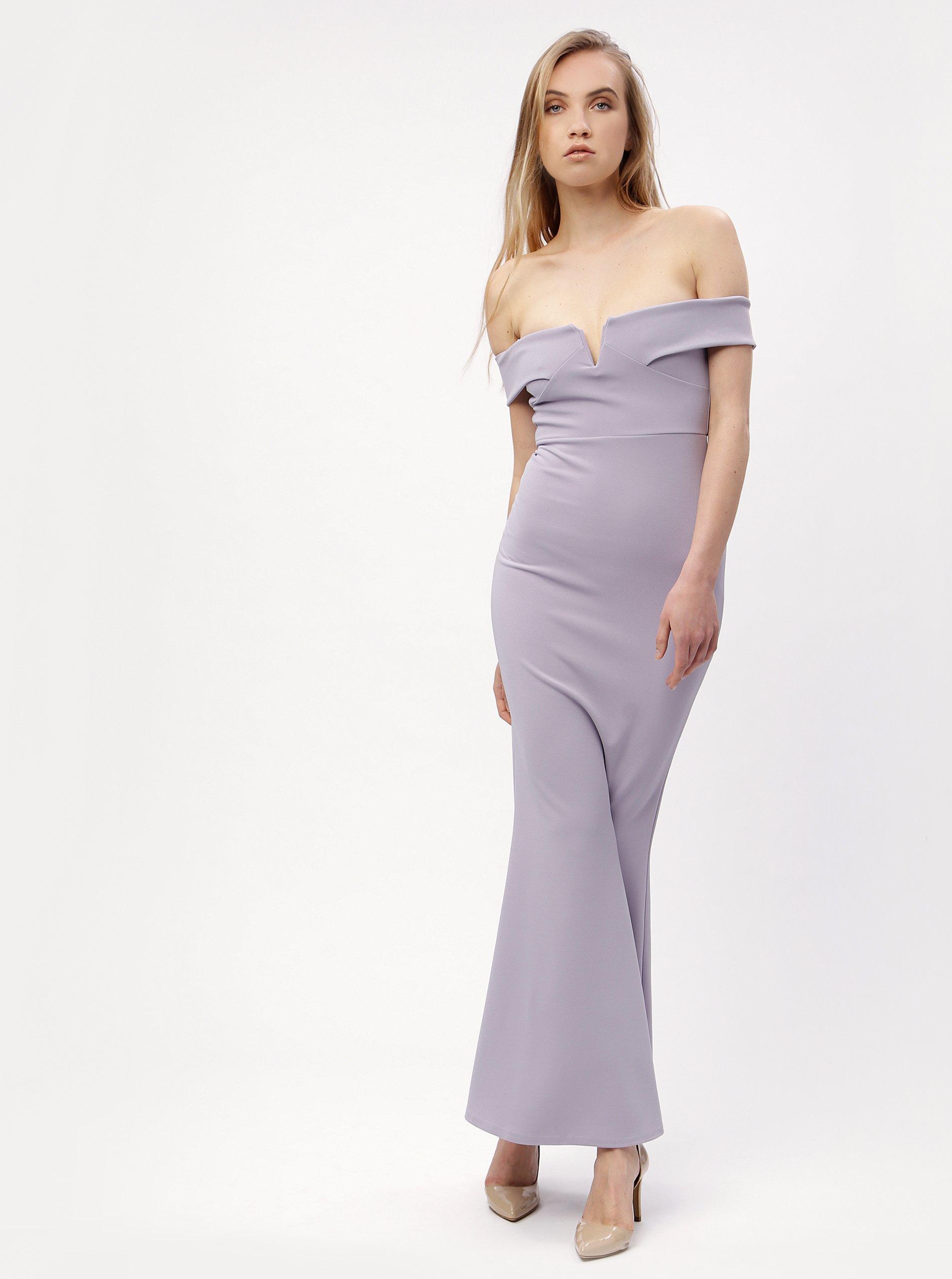 2117e26972cf Světle fialové dlouhé šaty s odhalenými rameny MISSGUIDED