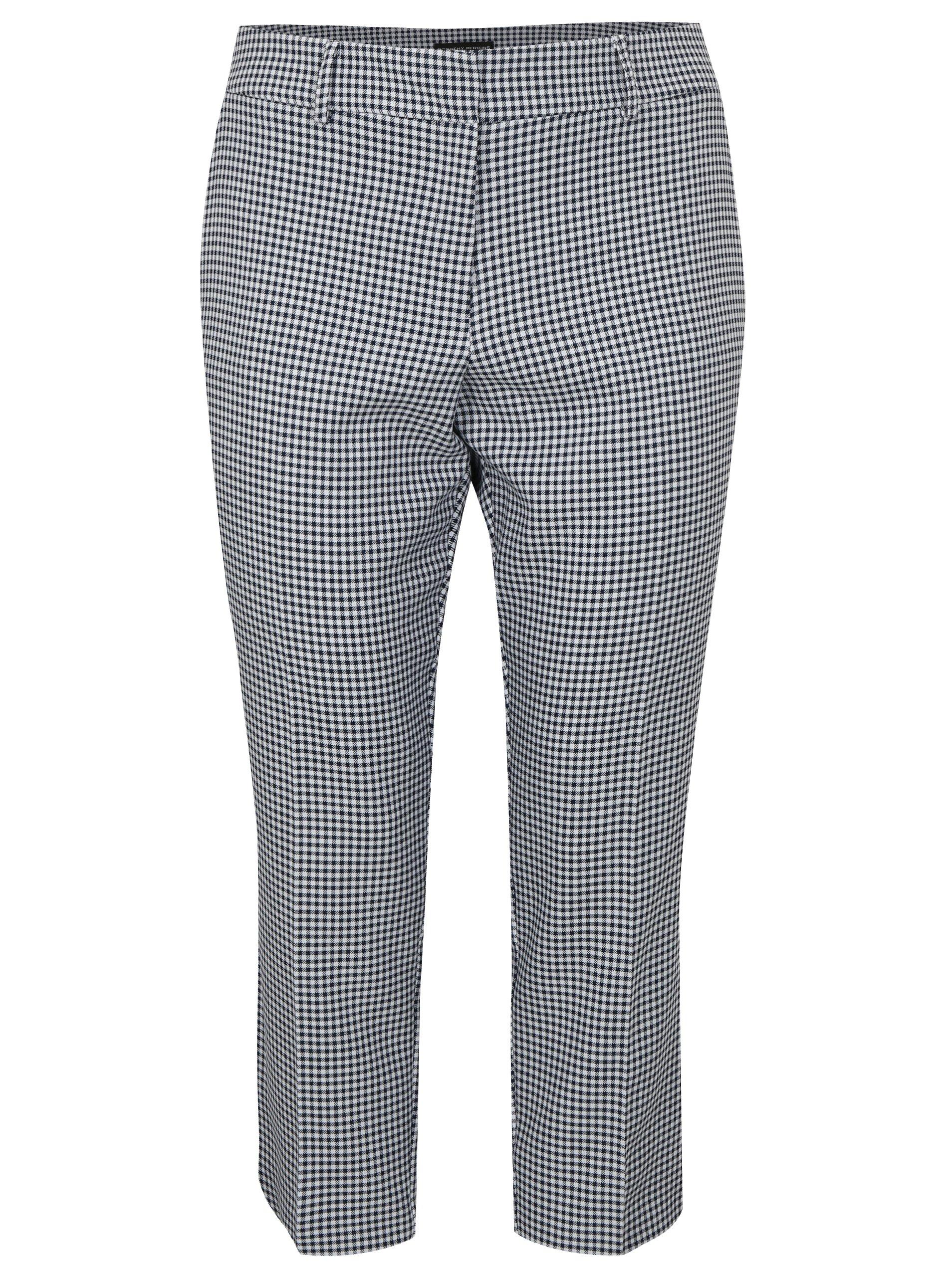 7f2576a6b5d4 Bielo–modré skrátené kockované nohavice Dorothy Perkins Curve