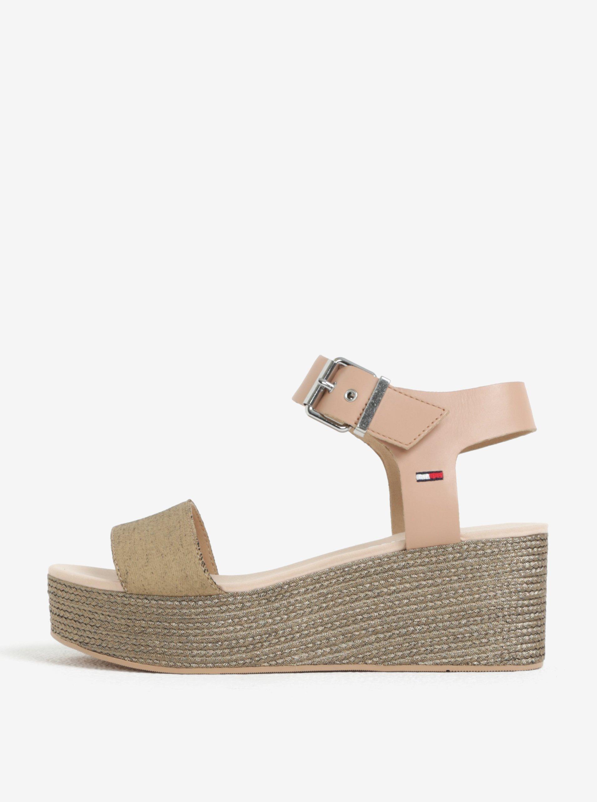 Béžové kožené sandály na platformě Tommy Hilfiger 99b6e55eef