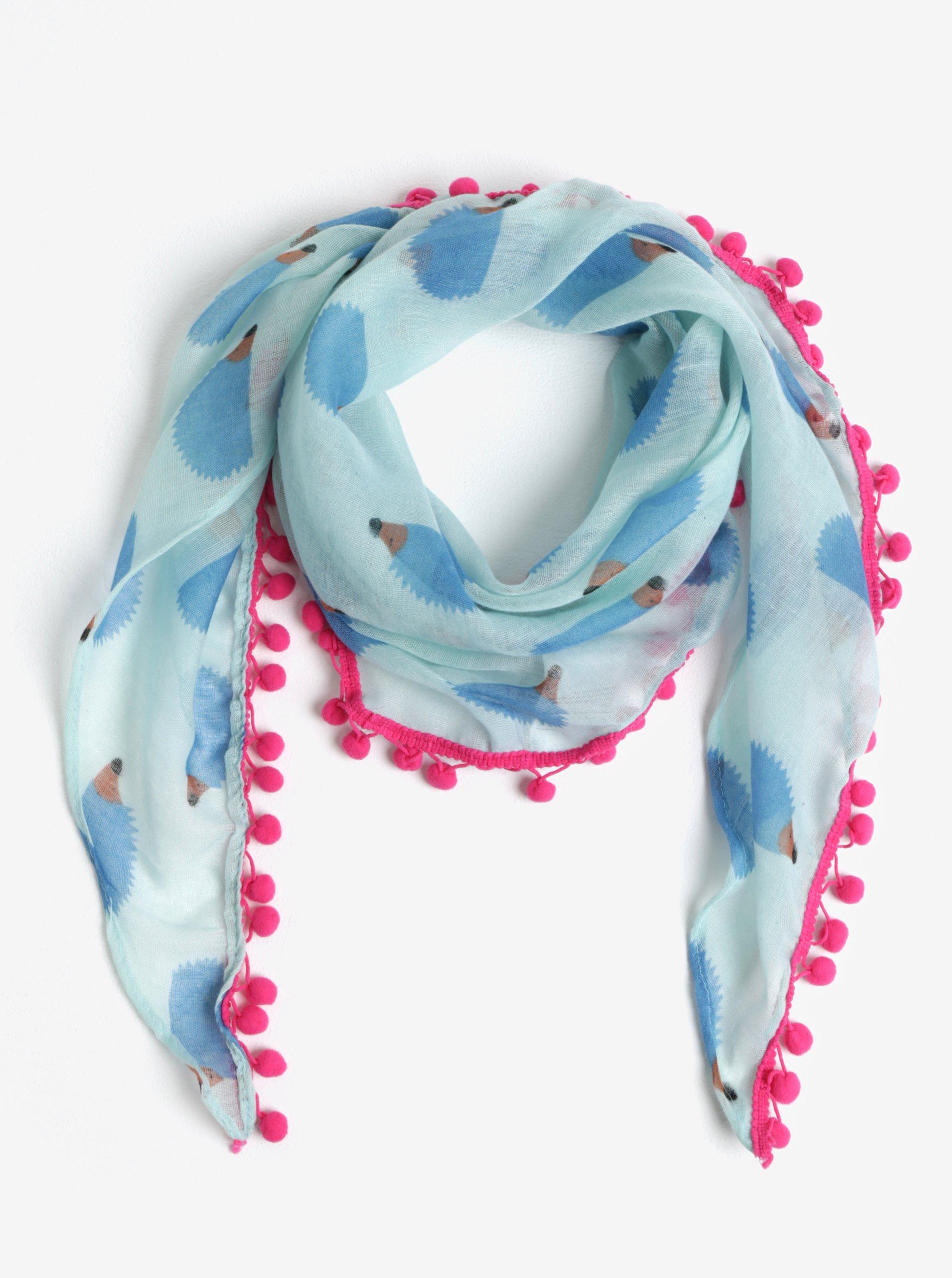 Modrý holčičí šátek s bambulemi a motivem ježků 5.10.15.