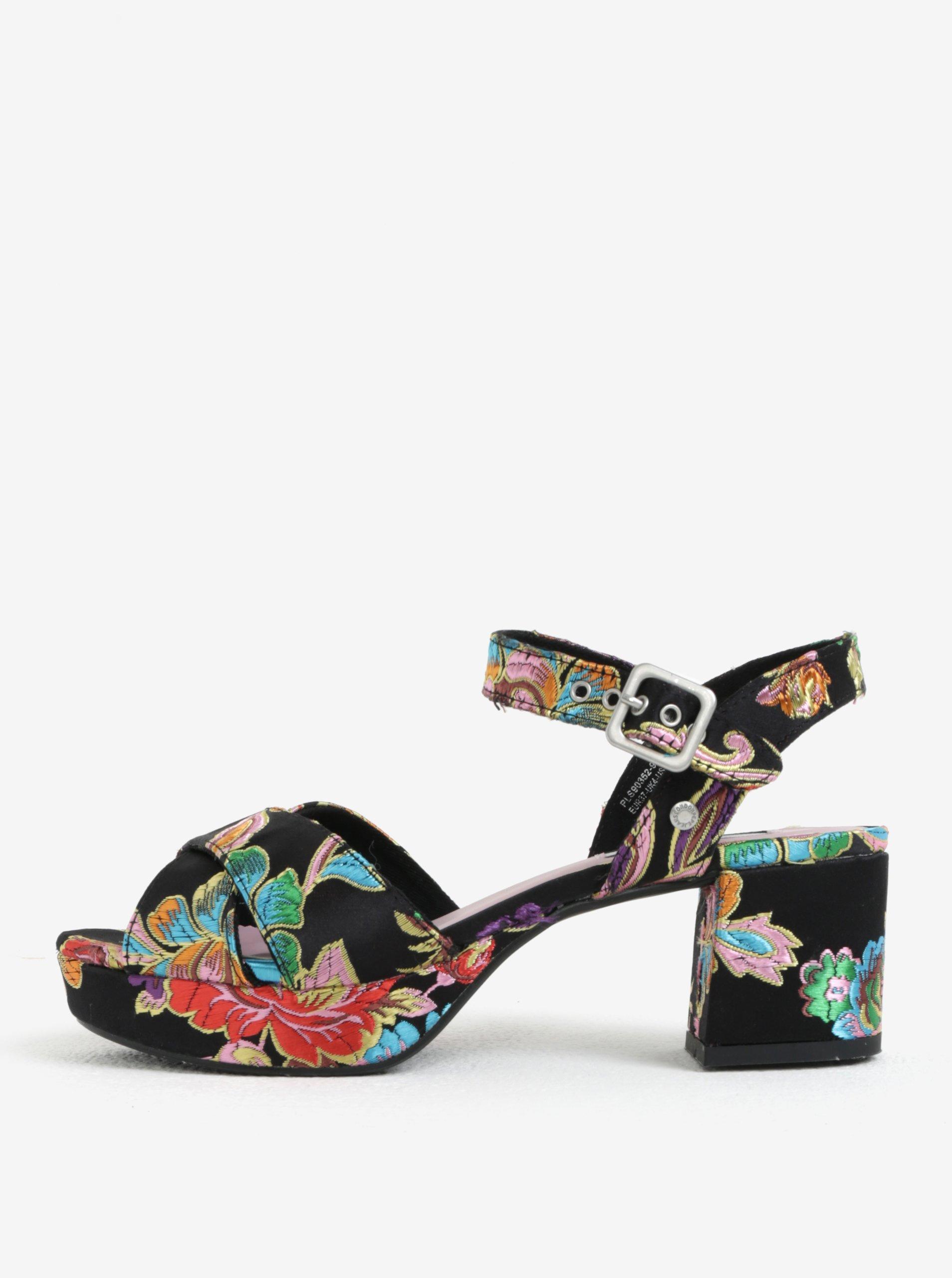 9ea151779049 Čierne dámske vzorované sandále na podpätku a platforme Pepe Jeans Hooper  Spring