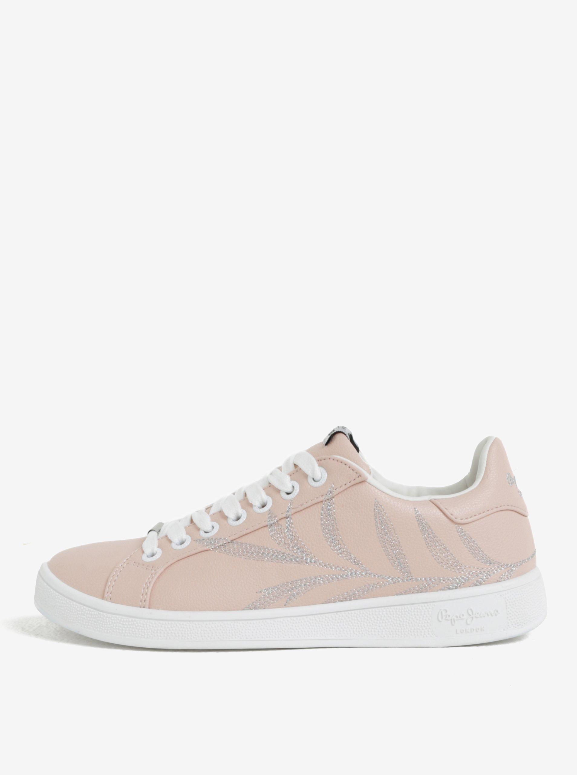 Bílo-růžové dámské tenisky Pepe Jeans Brompton Embroidery 6649ed8794