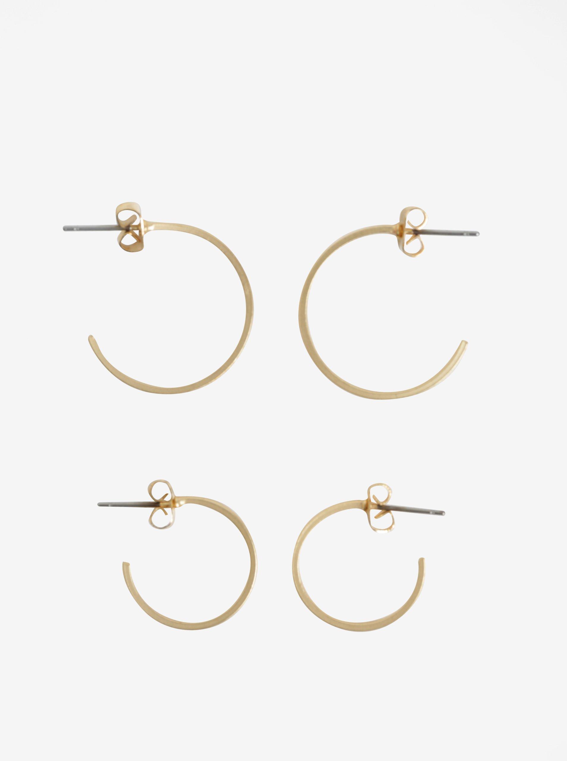 Sada dvou párů kruhových náušnic ve zlaté barvě VILA Efj Hoops