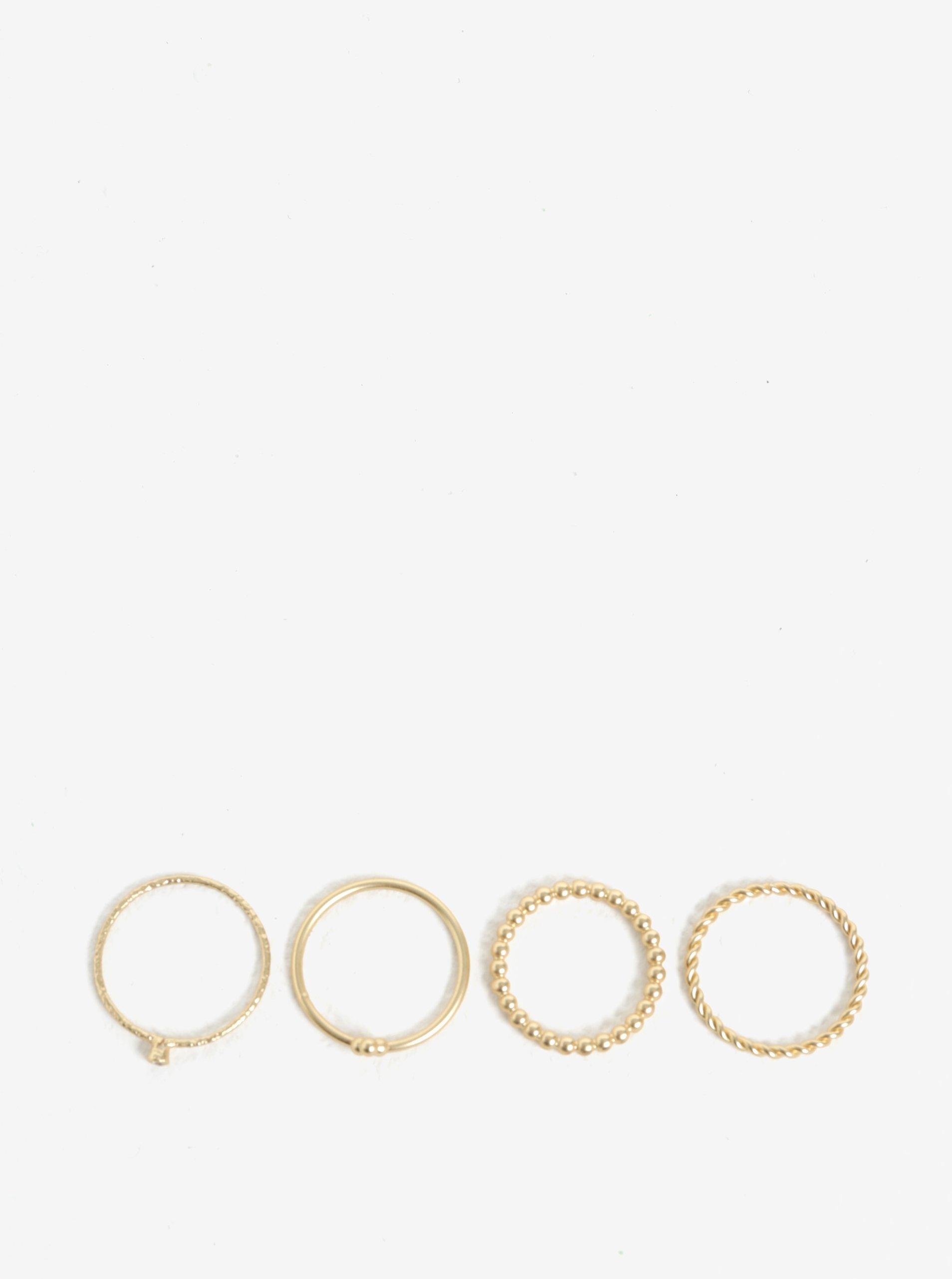 Sada čtyř prstýnků ve zlaté barvě VILA Efj Aura