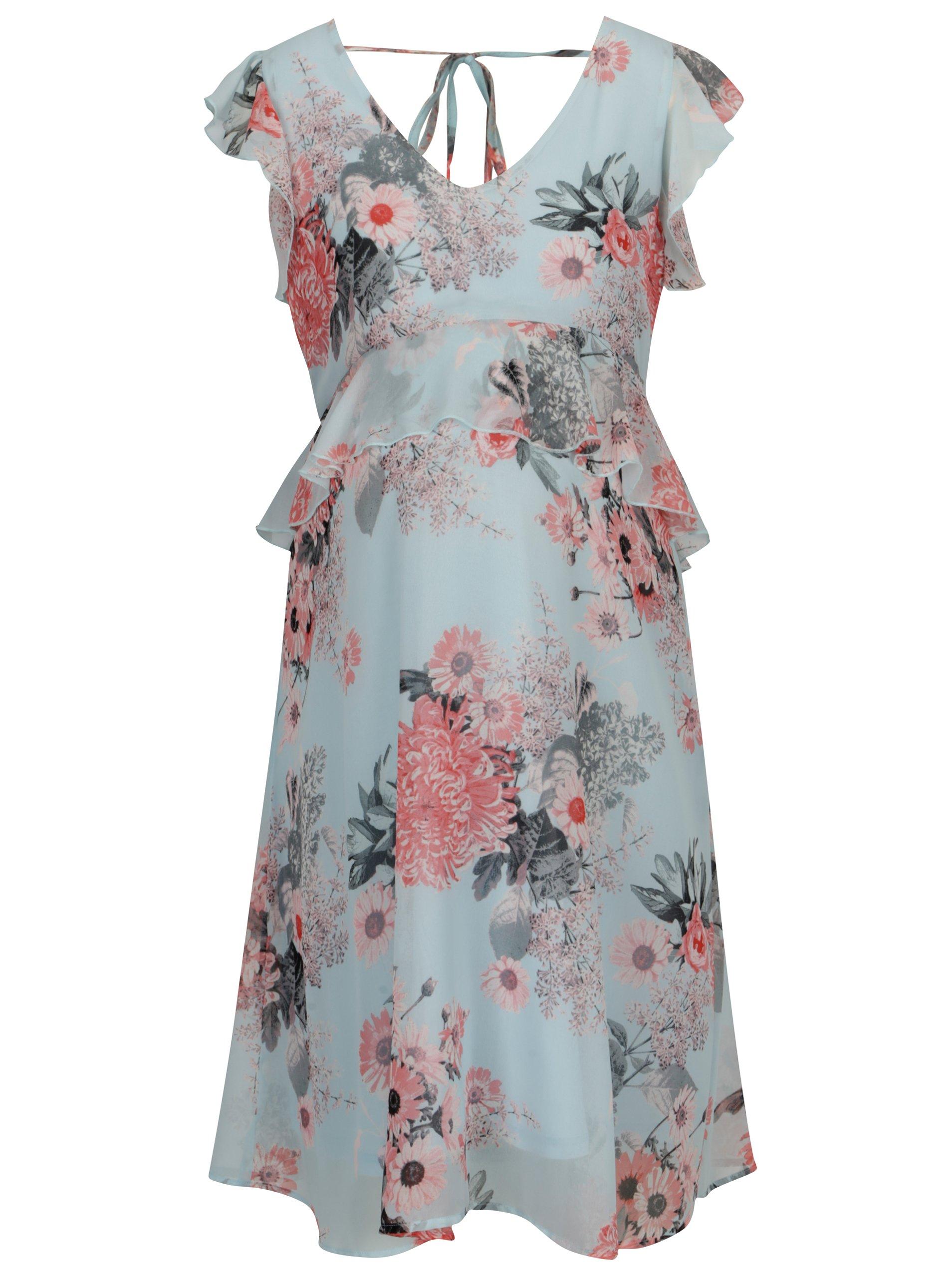d78f5531a796 Svetlomodré kvetované tehotenské šaty s volánmi Mama.licious Dalia