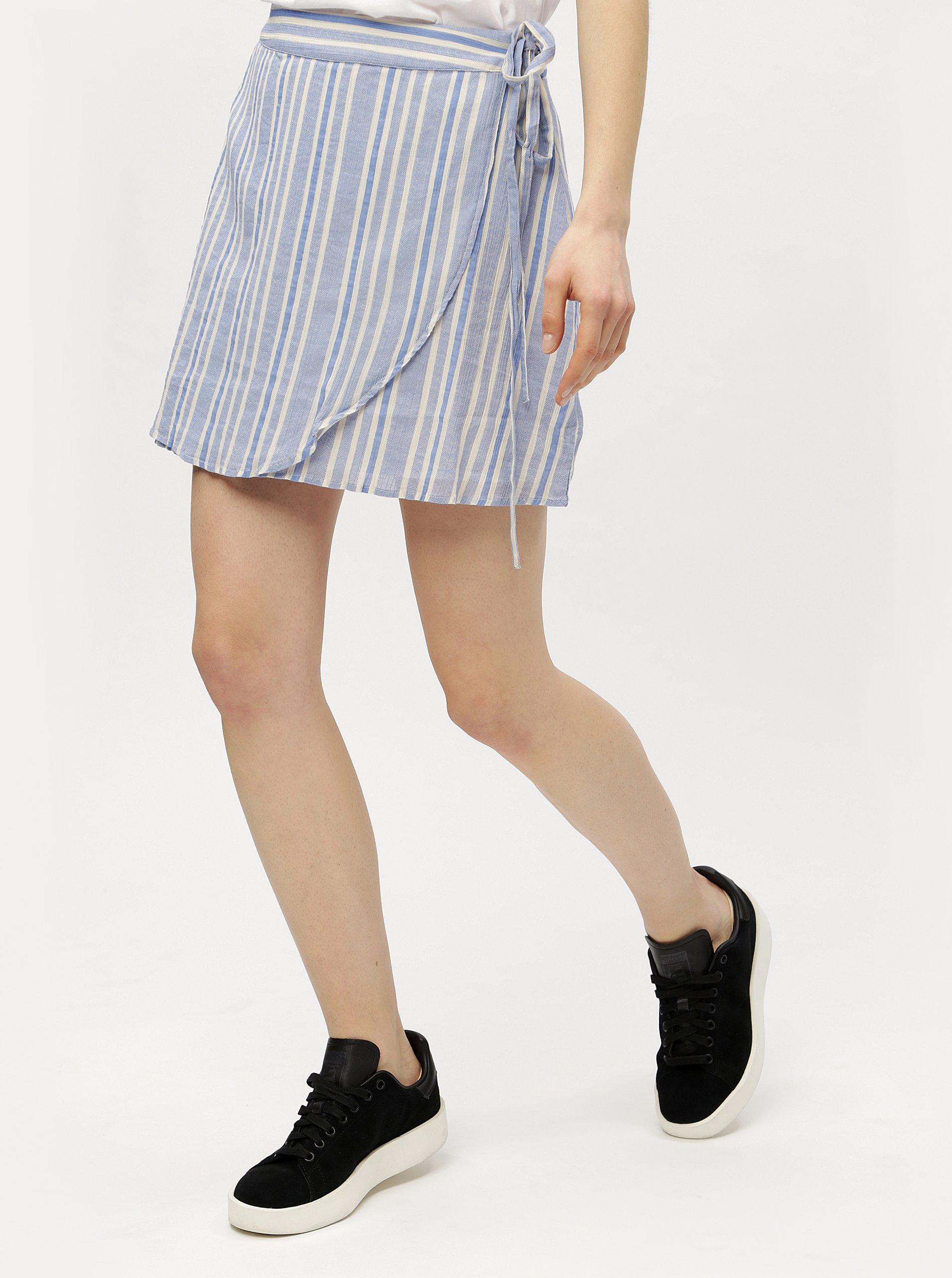 Modrá zavinovací pruhovaná sukně VERO MODA Summer