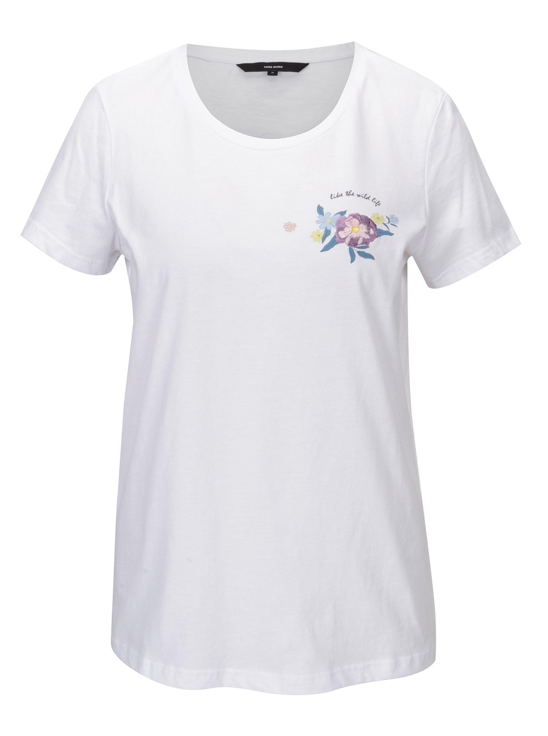 Fotografie Bílé tričko s potiskem a výšivkou VERO MODA Yoshi