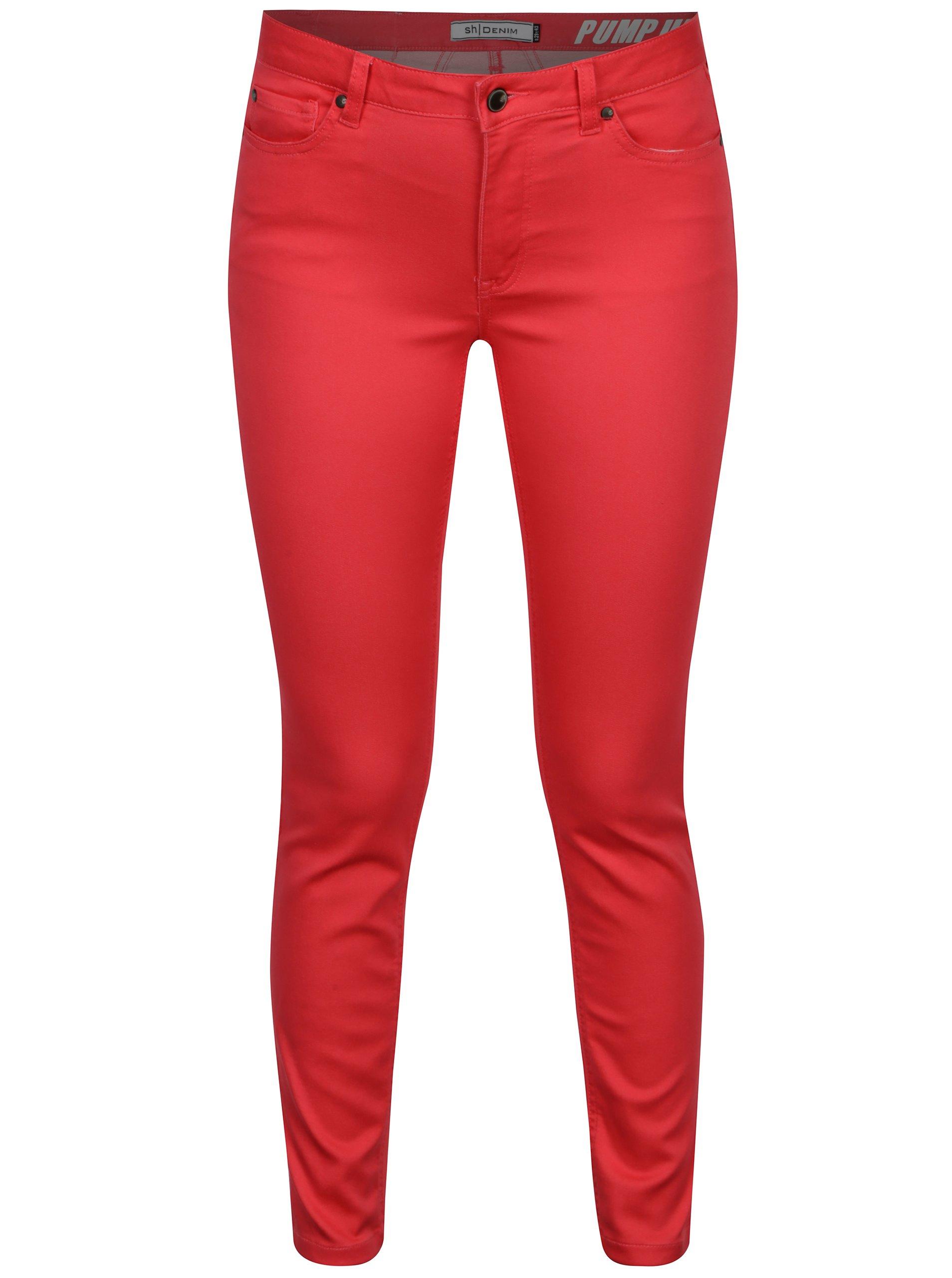 Tmavoružové slim nohavice s nízkym pásom SH Guaruja