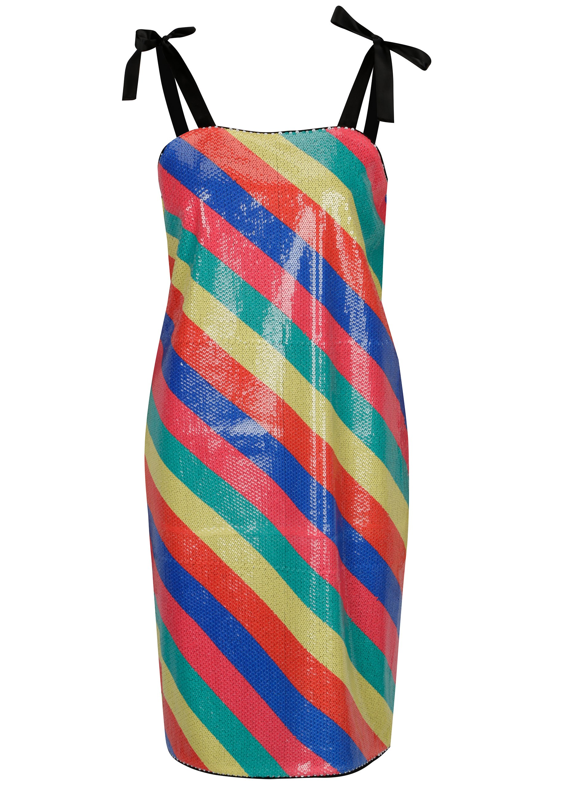 Barevné pruhované flitrované šaty SH Bombinas