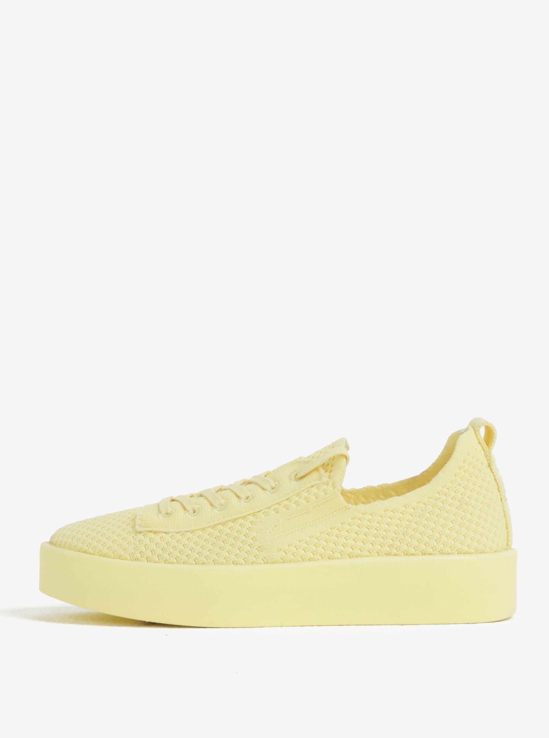 ef9a92581f534 Žlté dámske pletené tenisky na platforme s.Oliver