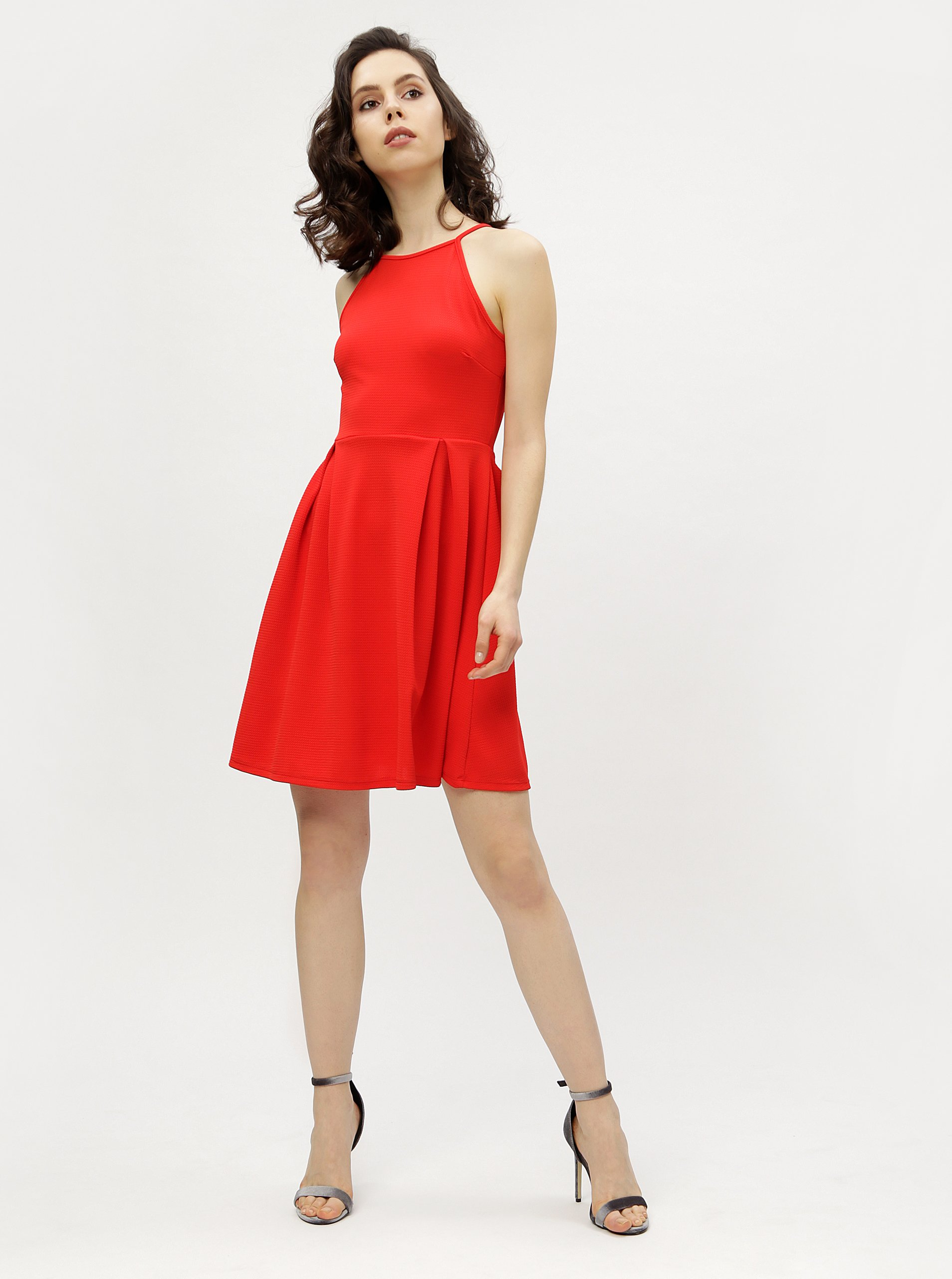 Červené šaty na ramienka Haily s Lolly 6b231fb07fb