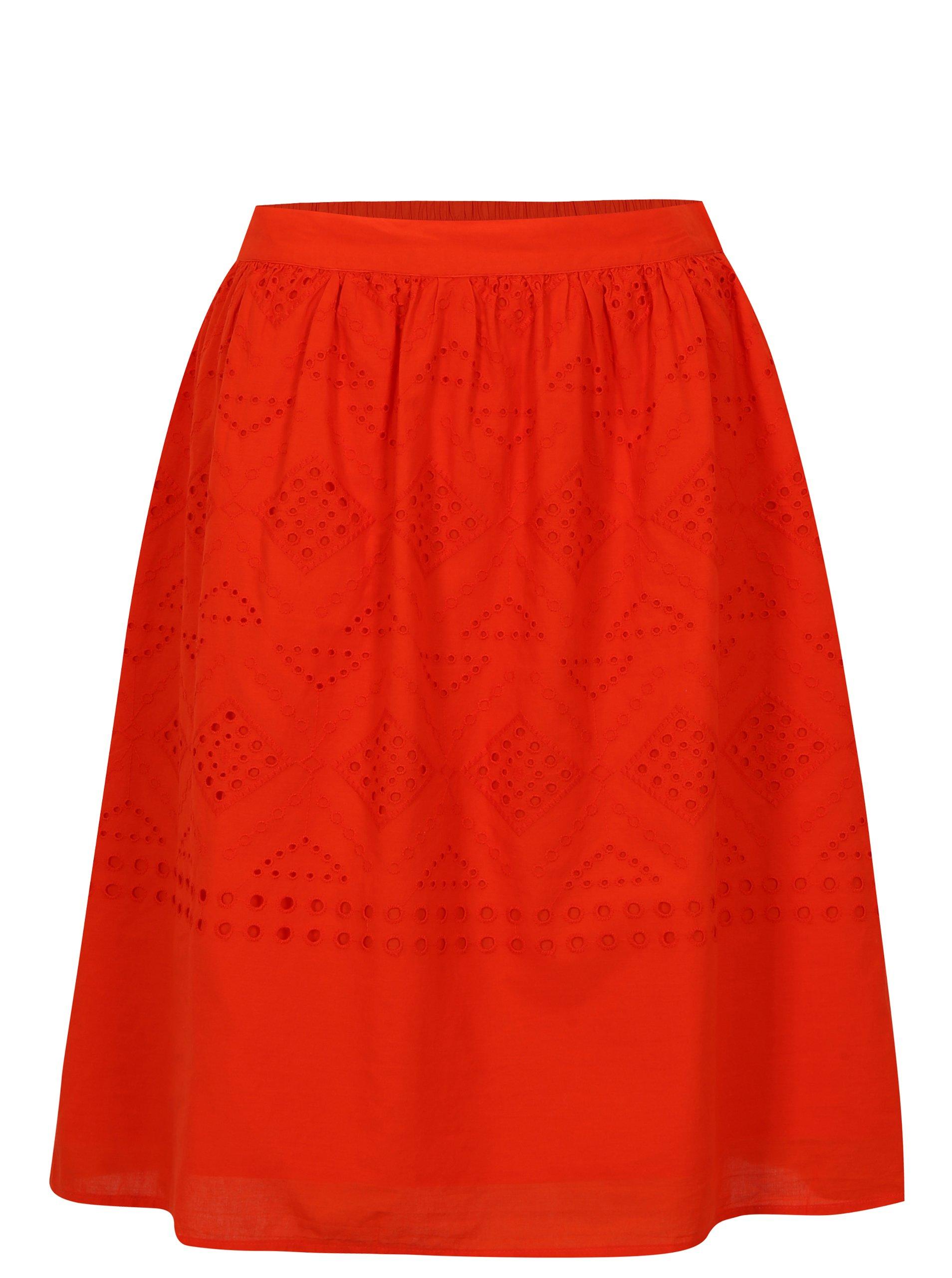 Červená sukně s madeirou VILA Simmi 0cbf921d4b