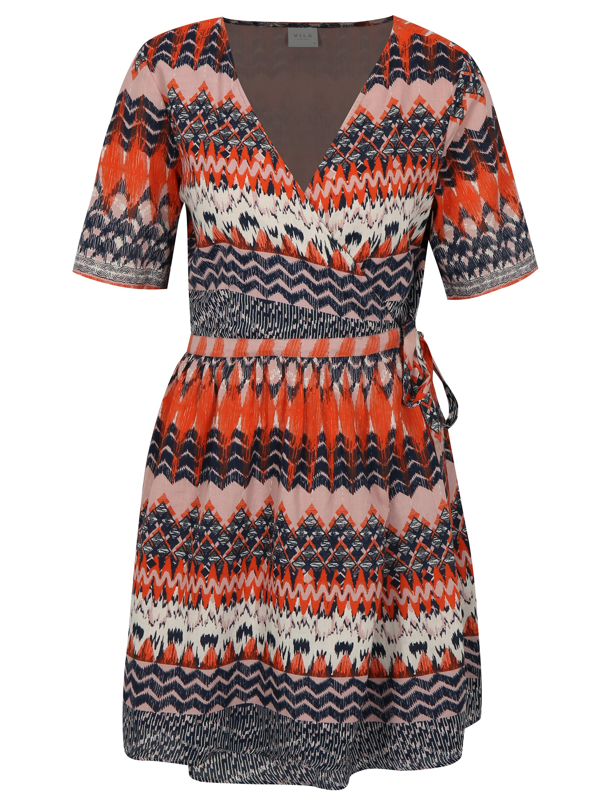 b541b13ac247 Modro-oranžové vzorované zavinovací šaty VILA Sandro