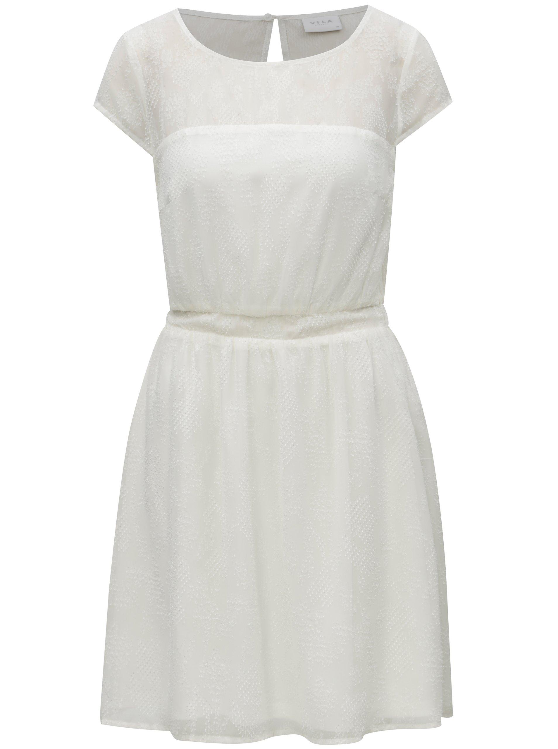 Biele vzorované šaty s prestrihom na chrbte VILA Alpa